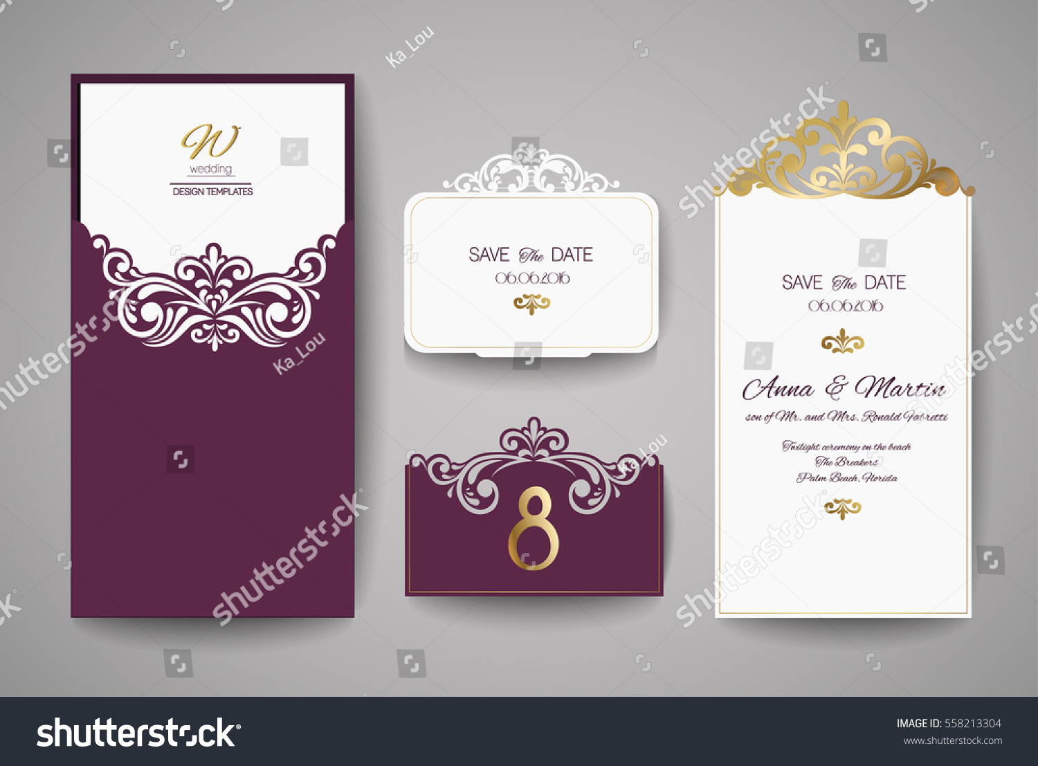 Wedding Invite Card Stock: Wedding Invitation Greeting Card Gold Floral Stock Vector