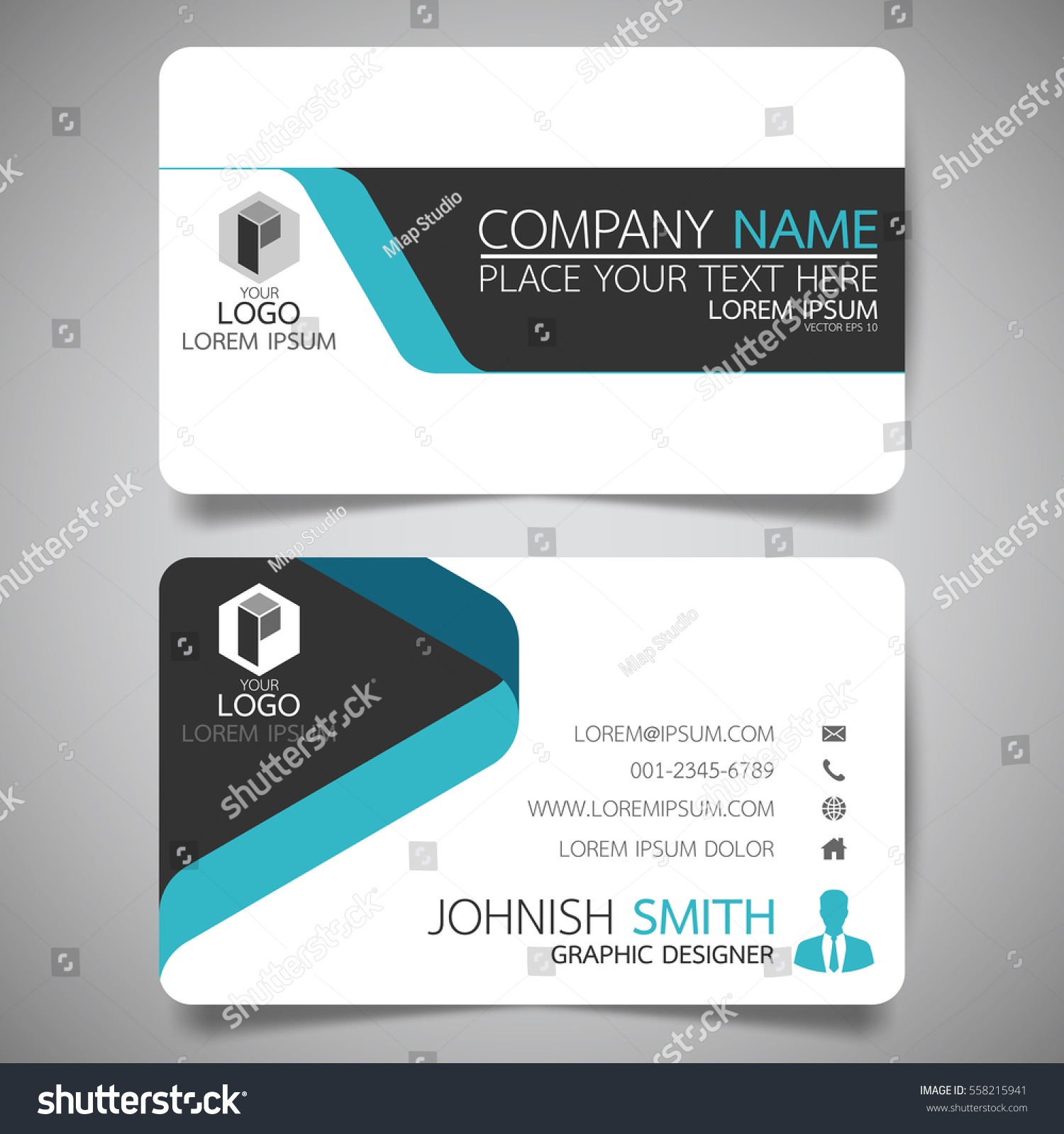 blue modern creative business card name のベクター画像素材