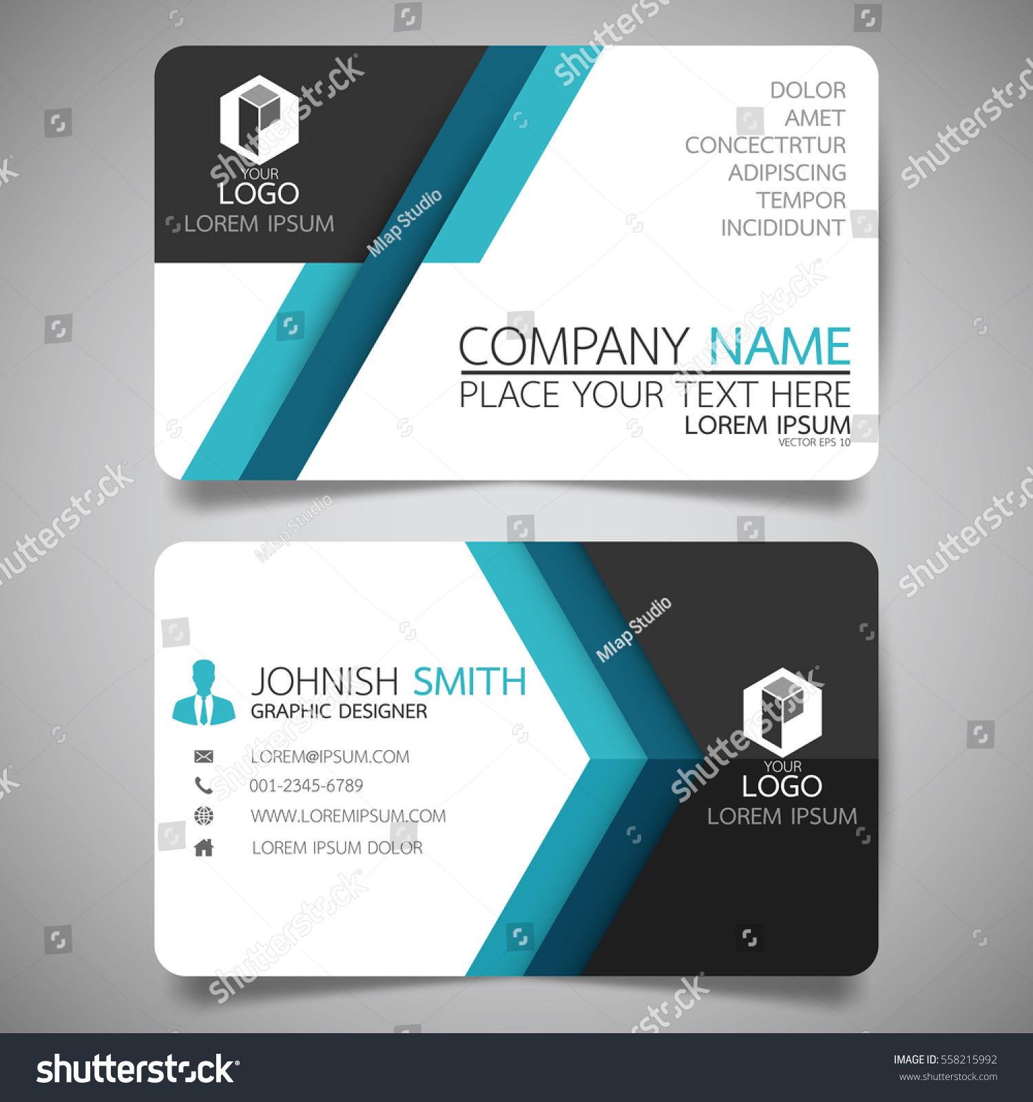 blue modern creative business card name stock vector