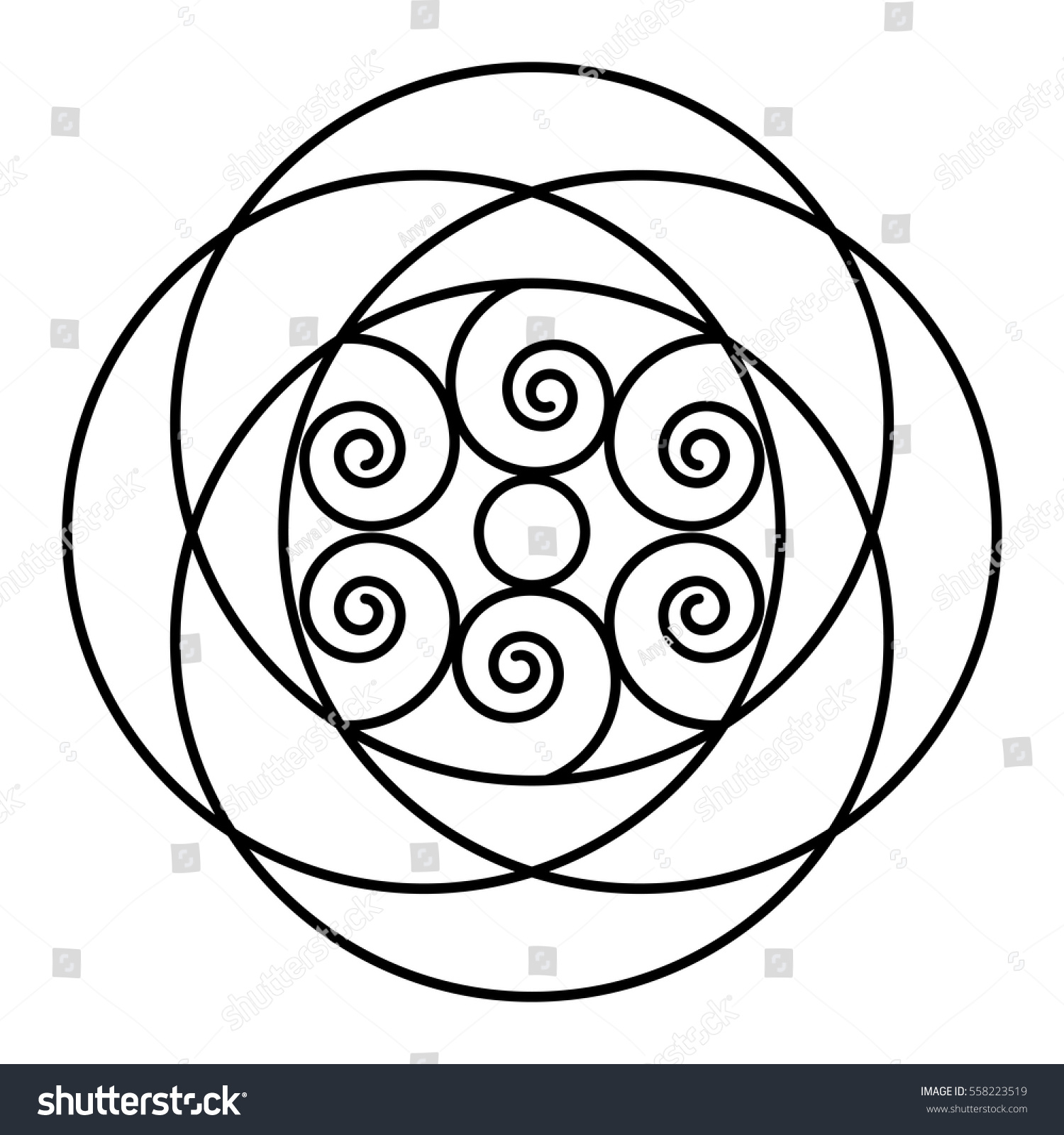 Easy Floral Black White Rose Mandala Stock Vector HD (Royalty Free ...