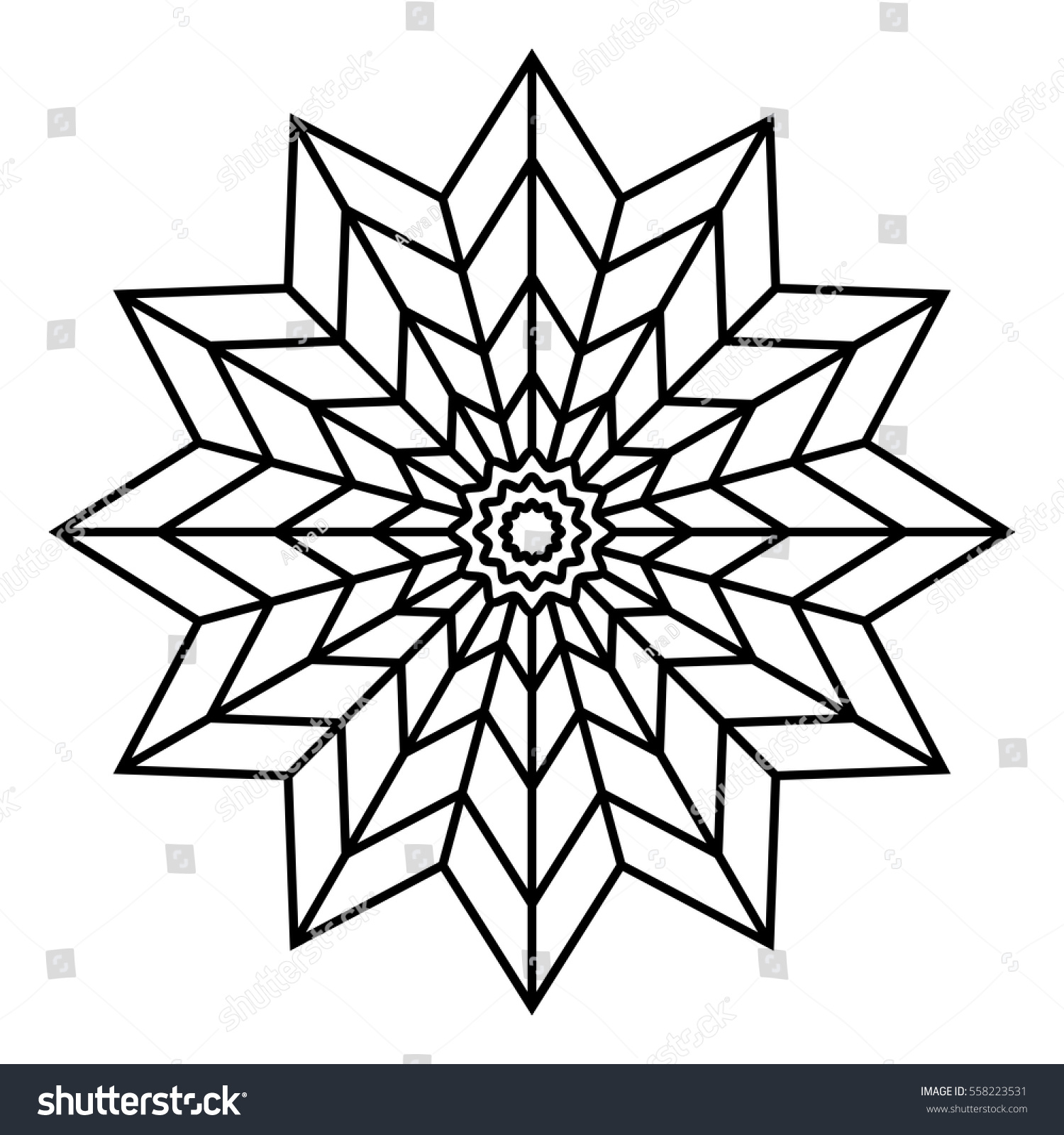 easy floral black white mandala coloring stock vector 558223531
