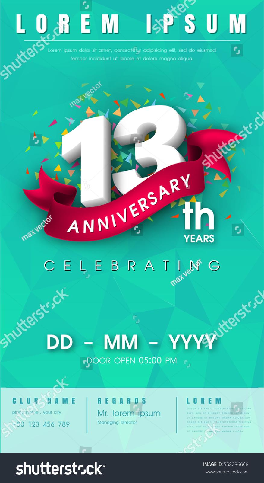 13 Years Anniversary Invitation Card Emblem Stock Vector Royalty