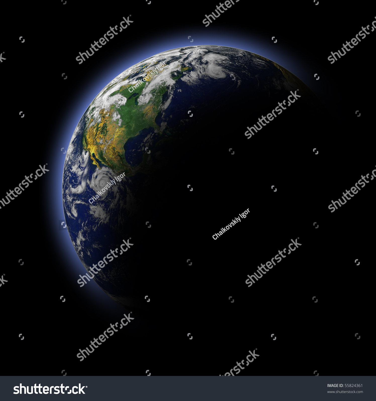 Real Earth Planet. Blue Idill. Stock Photo 55824361 ...