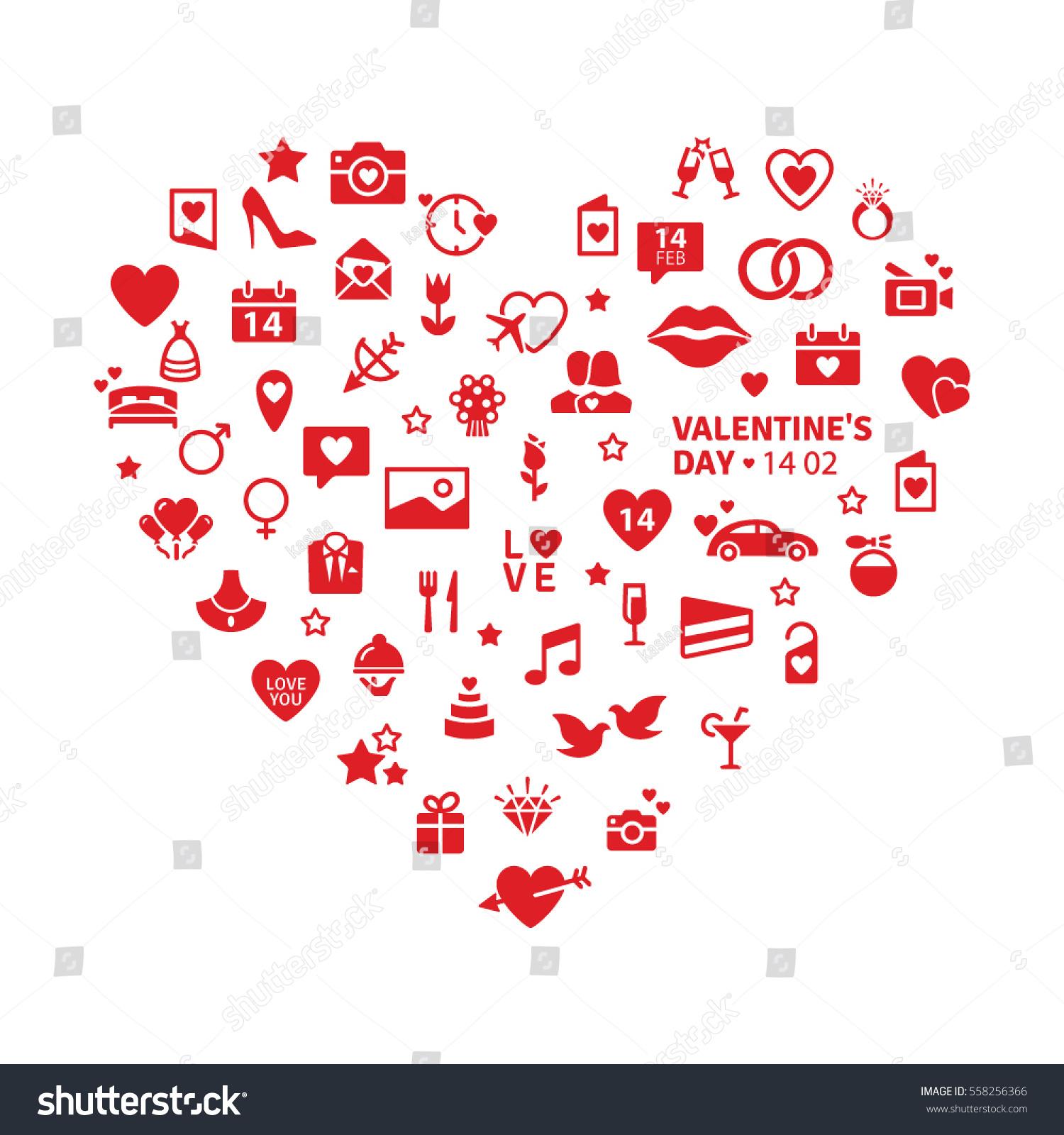 Happy Valentines Day Universal Modern Flat Stock Vector (Royalty ...
