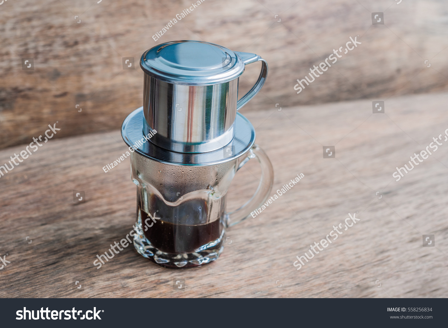 Pouring Hot Water Into Coffee Maker : Phin Traditional Vietnamese Coffee Maker Place Stock Photo ...