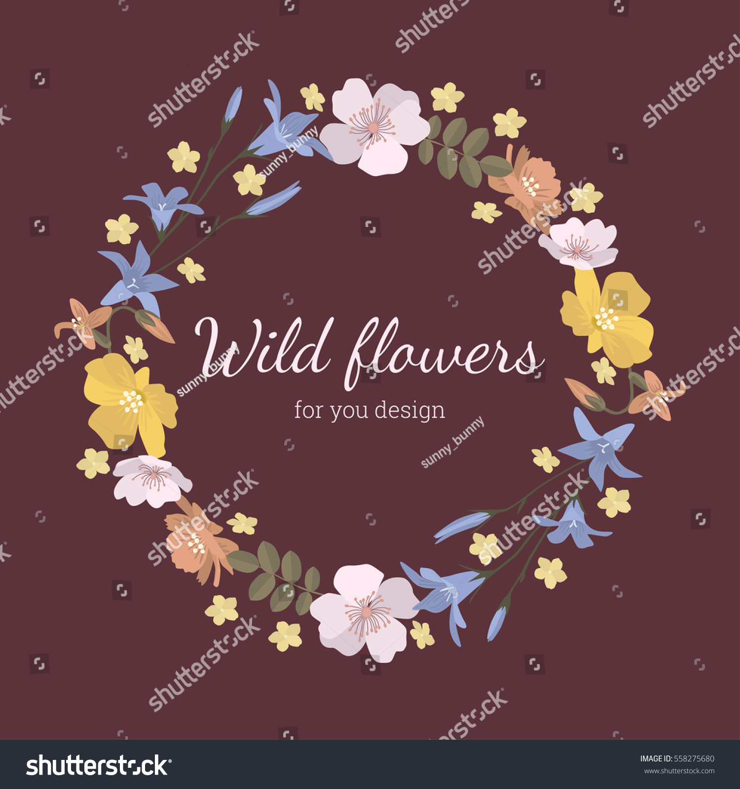 06250f9f2 Delicate round frame of cute wild flowers. Pattern can be used for design,  decor