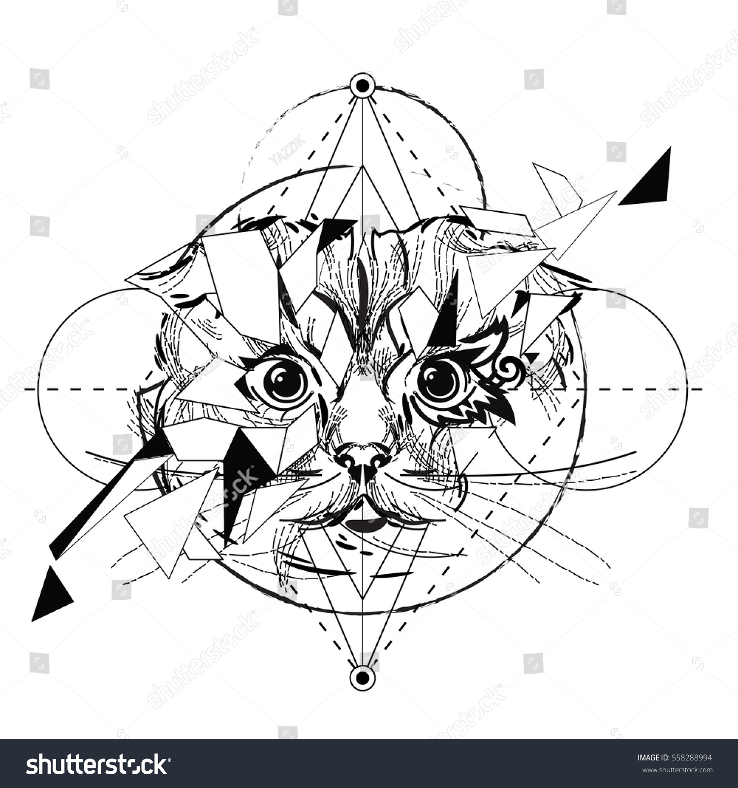 Tiger head triangular icon geometric trendy stock vector image - Animal Head Triangular Icon Geometric Trendy Line Design Vector Illustration Ready For Tattoo Or