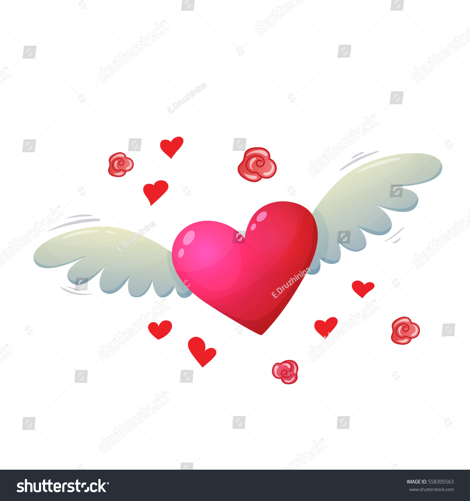 Colorful Cartoon Illustration Heart Wings Symbol Stock Vector