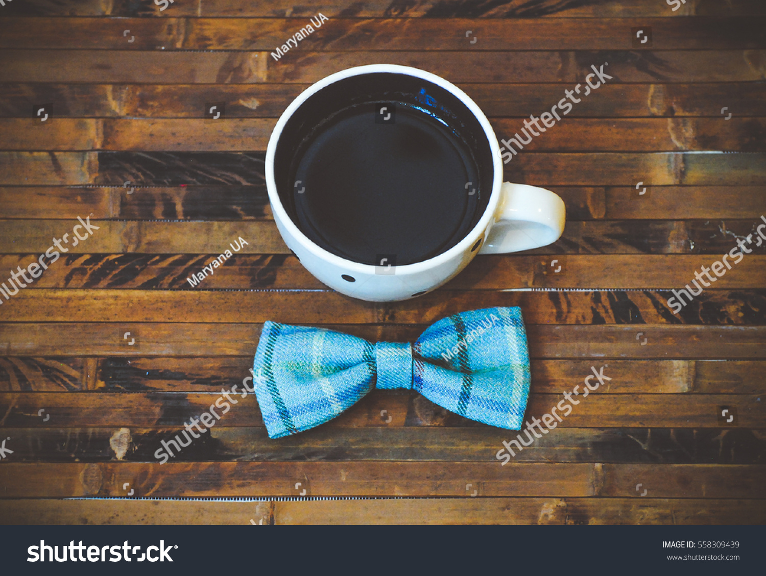Warm Cup Coffee Bow Tie Men Stock Photo Edit Now 558309439