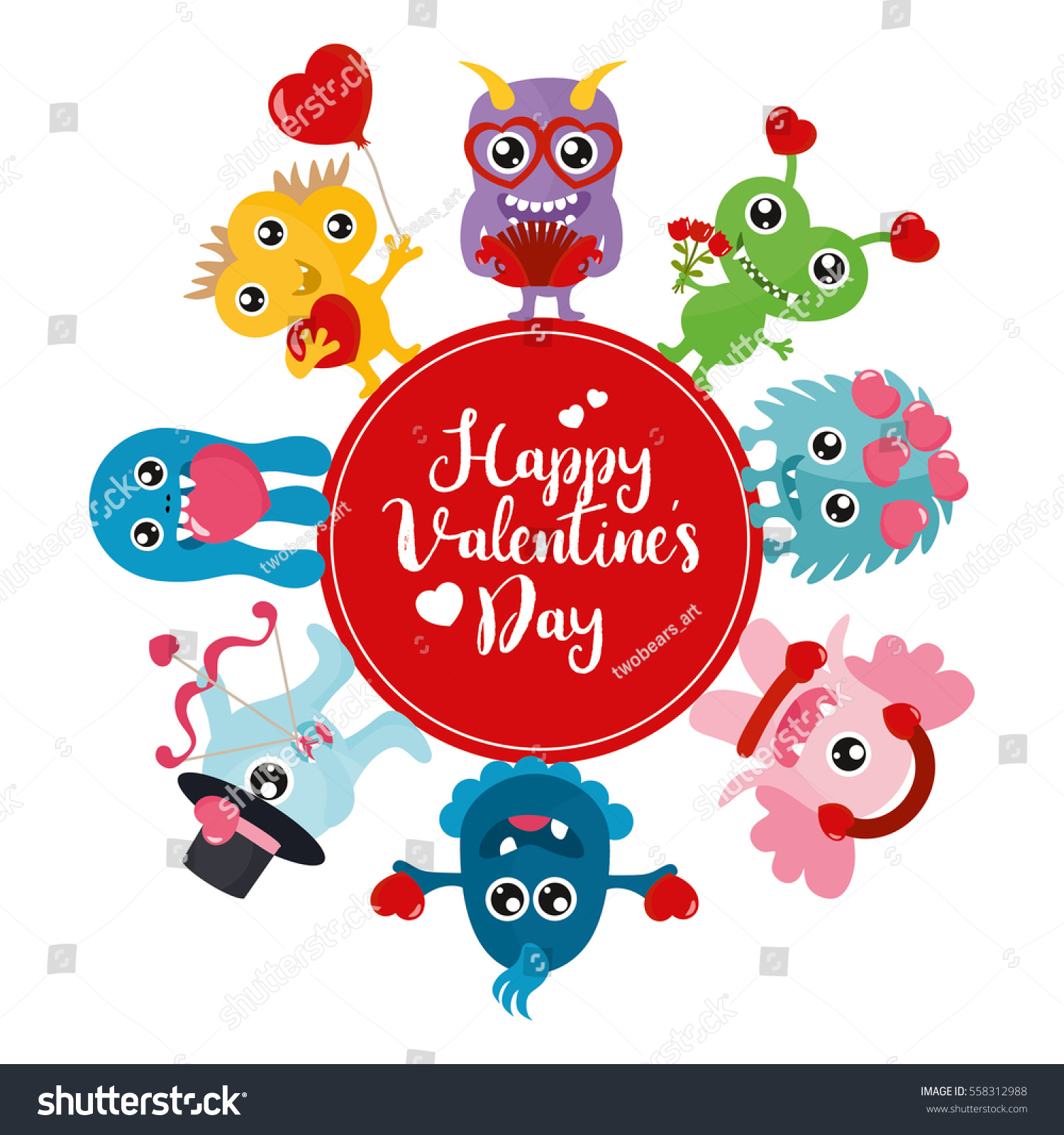 Valentines Day Concept Monsters Cartoon Creature Stock Vector