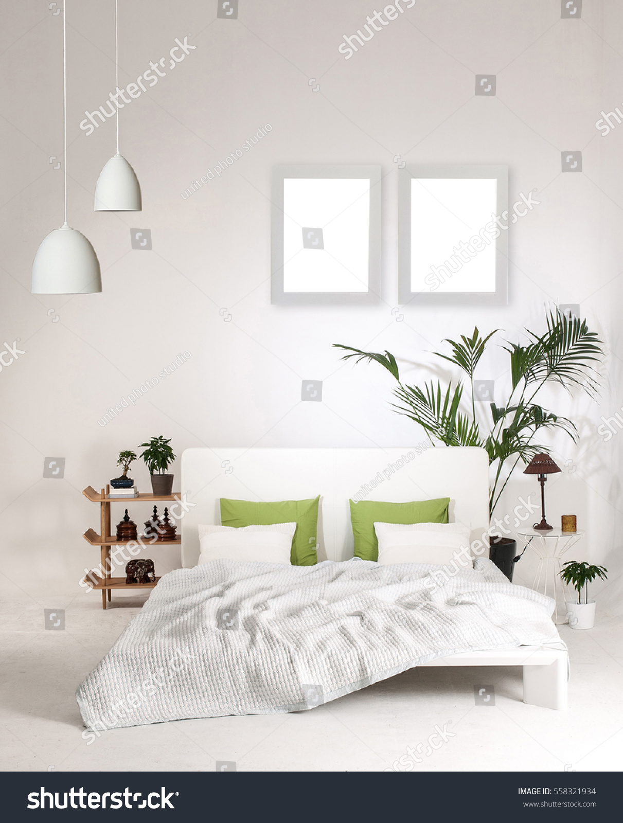Modern White Wall Bedroom Bed Green Stock Photo (Edit Now) 558321934 ...