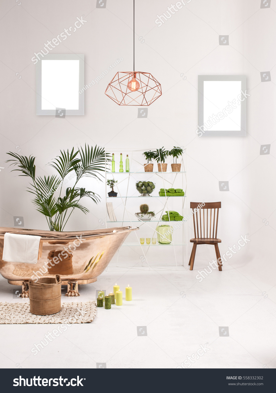Natural Wood Furniture White Wall Decor Stock Photo (Download Now ...