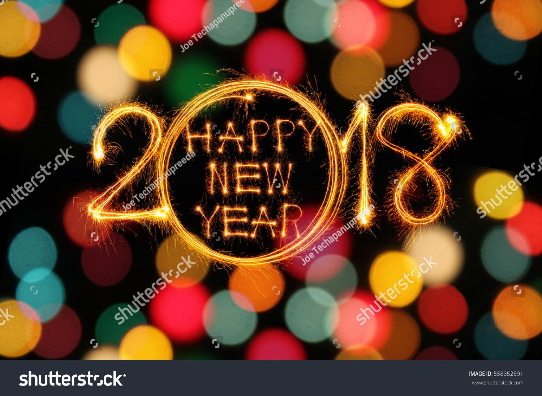 Happy New Year 2018 Sparkles Firework Stock Photo (Edit Now ...