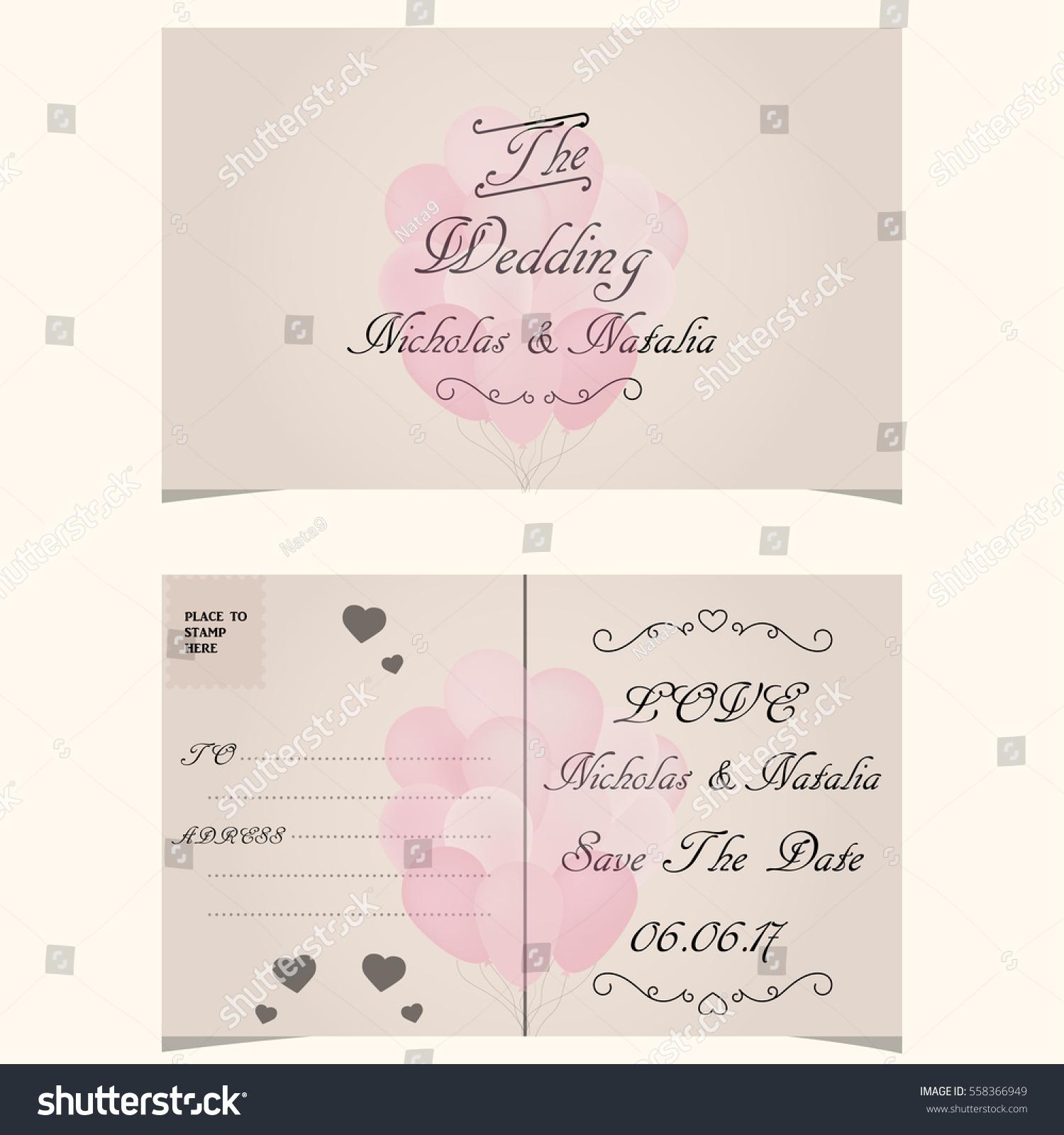 Colorful Greeting Wedding Invitation Card Illustration Stock ...