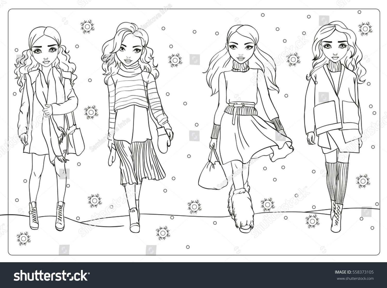 Vector Coloring Book Girls Winter Clothes Stock Vector 558373105 ...