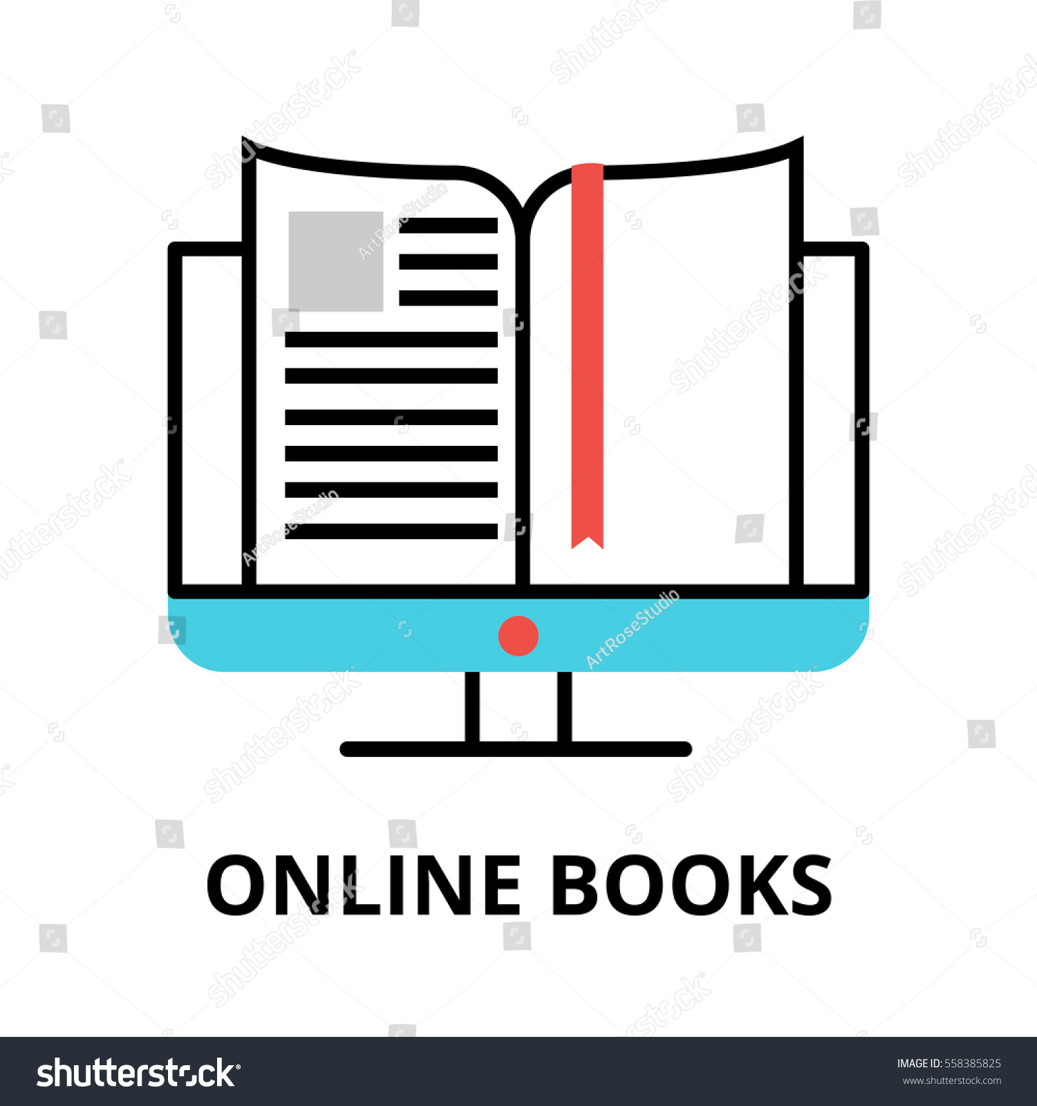 Online Books Icon, Flat Thin Line Vector Illustration, For Graphic And Web  Design