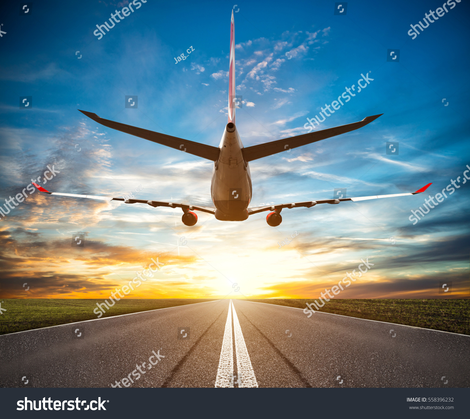 passenger plane fly over takeoff runway stock photo edit now