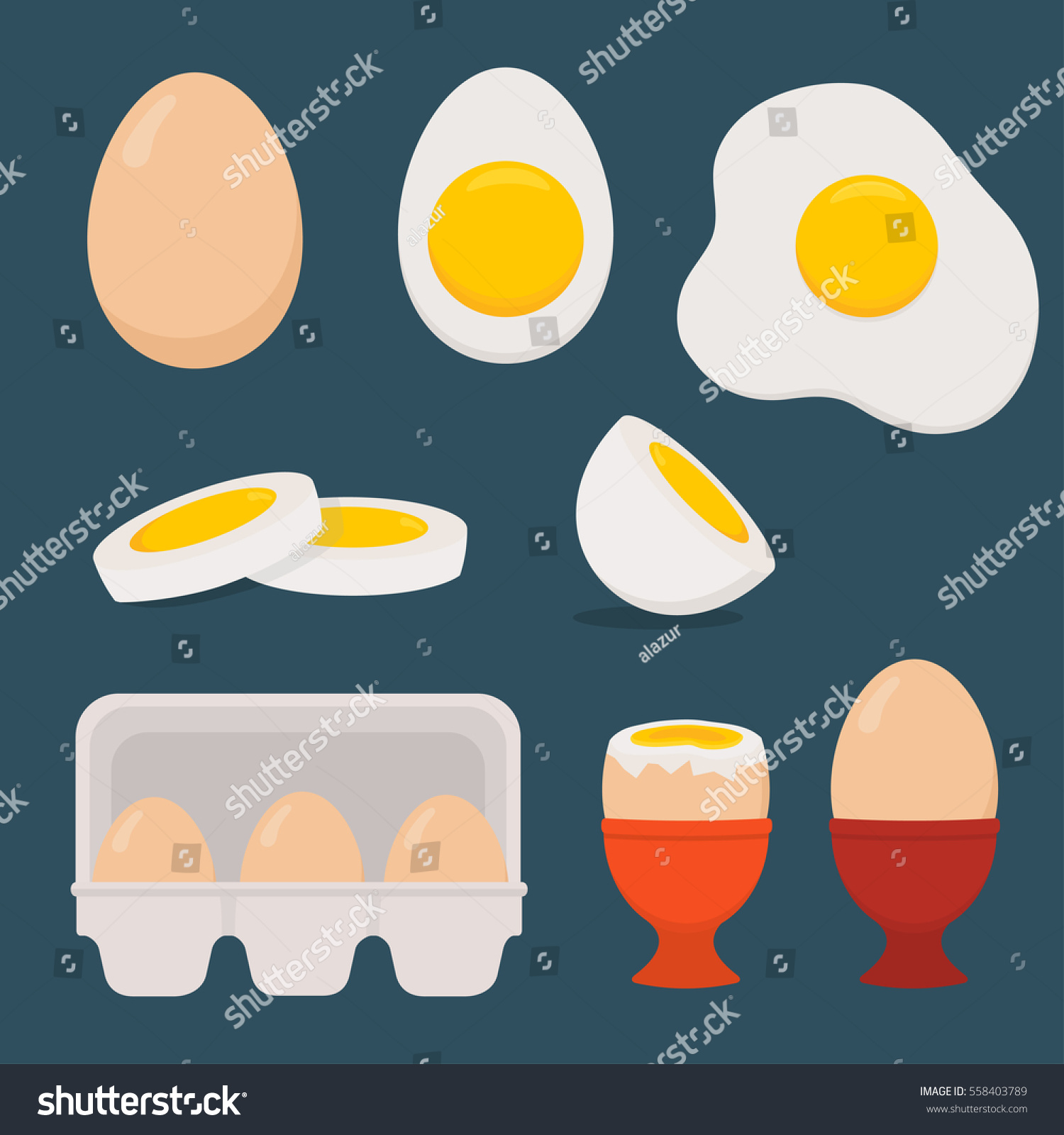 Eggs Set Isolated On Dark Blue Stock Vector (Royalty Free) 558403789