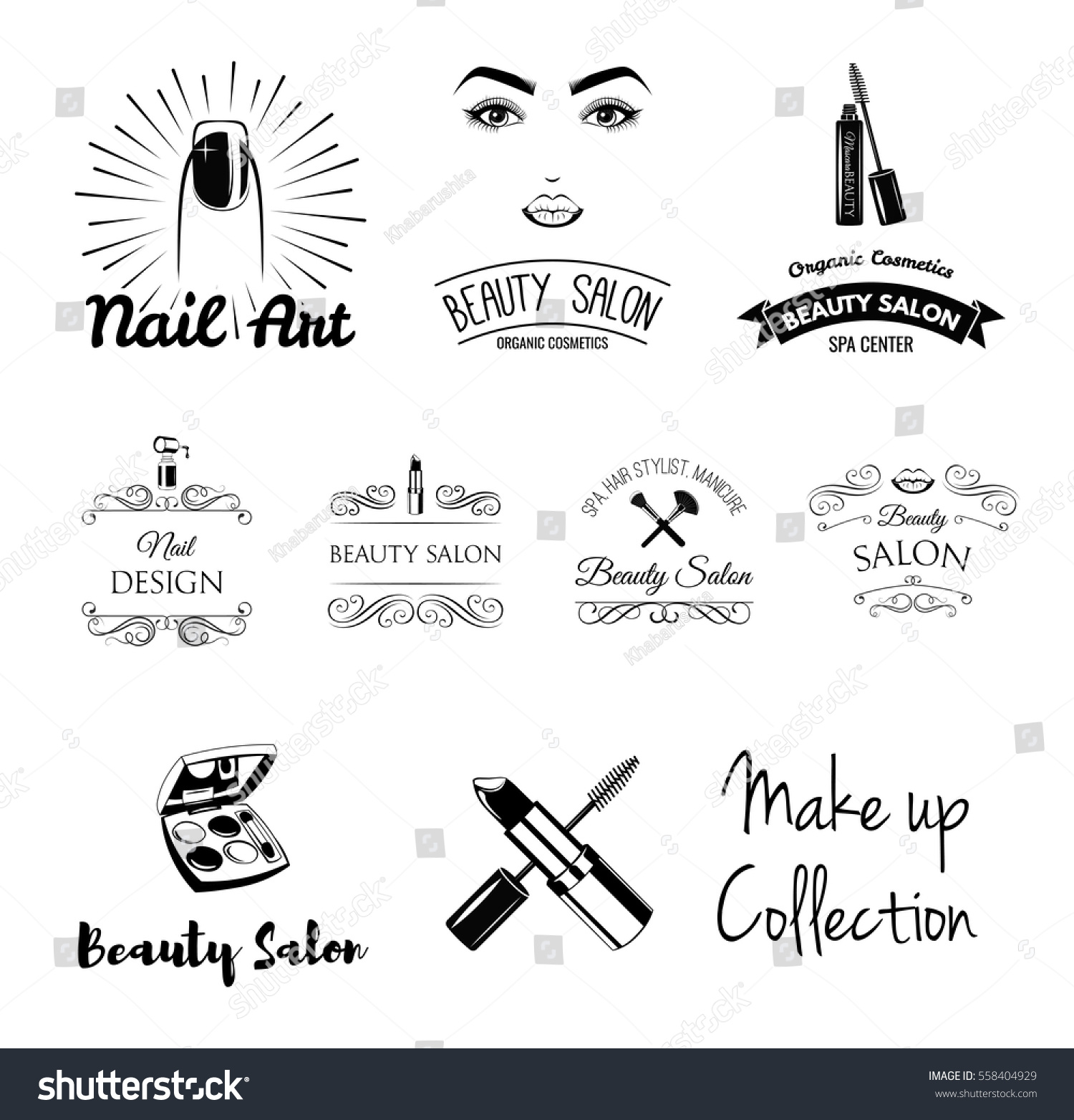 Beauty salon design elements vintage style stock vector for Salon blueprint maker