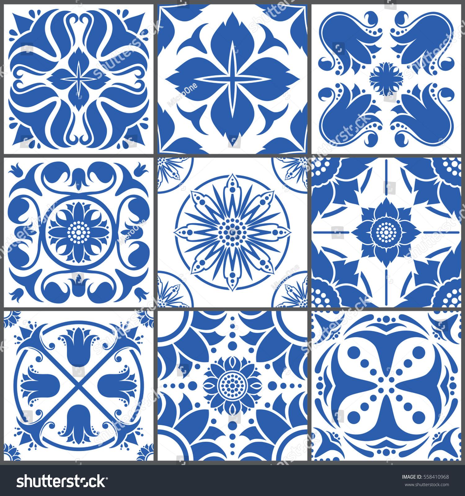 Vintage Ceramic Tiles Vector Illustration Floor Stock Vector ...