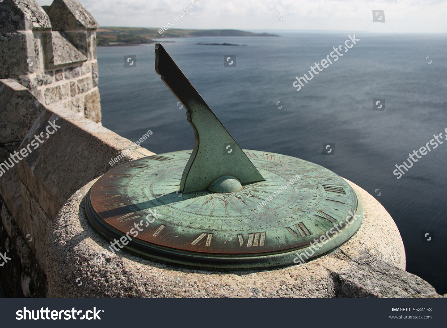 Ancient Sundial On Castle Walls Saint Stock Photo 5584168