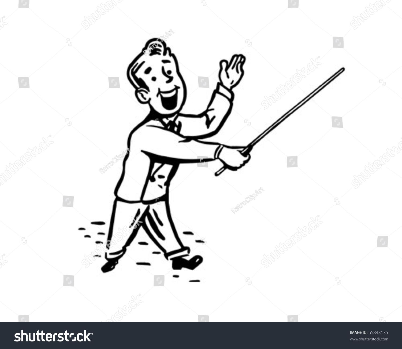man with pointer stick retro clip art stock vector