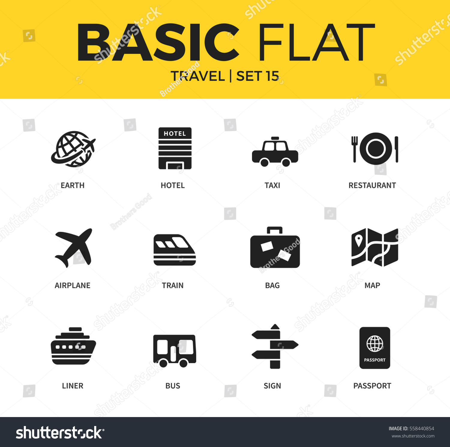 Basic Set Earth Hotel Bag Map Stock Vector Royalty Free 558440854