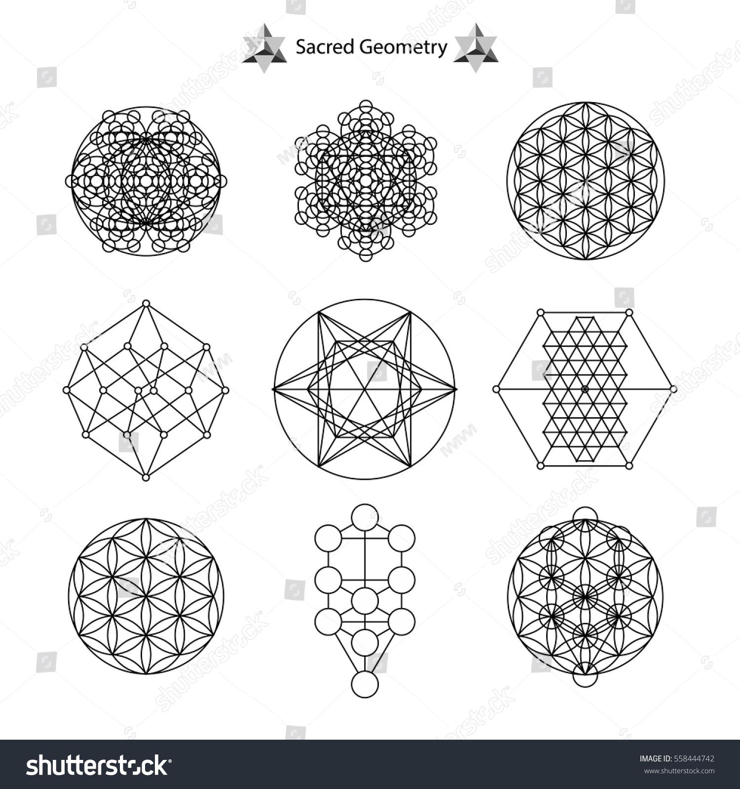set sacred geometry vector design elements stock vector royalty