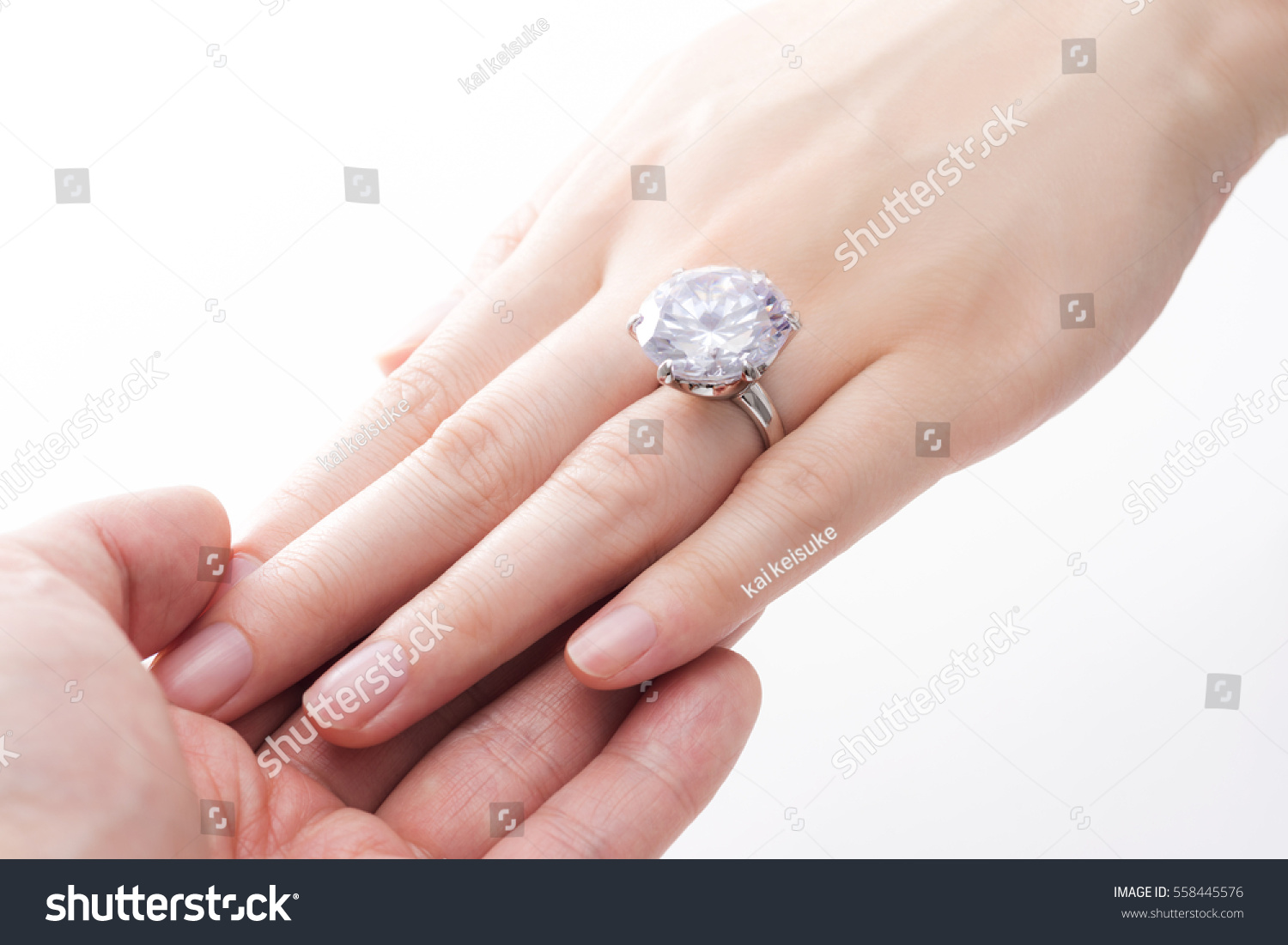 Engagement Ring On Hands Women Stock Photo (Edit Now)- Shutterstock