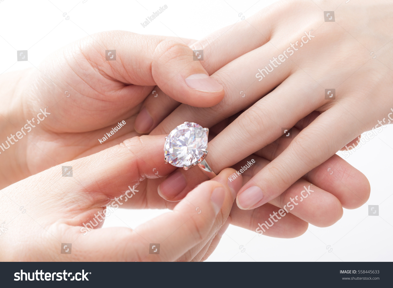 Engagement Ring On Hands Women Stock Photo 558445633 - Shutterstock