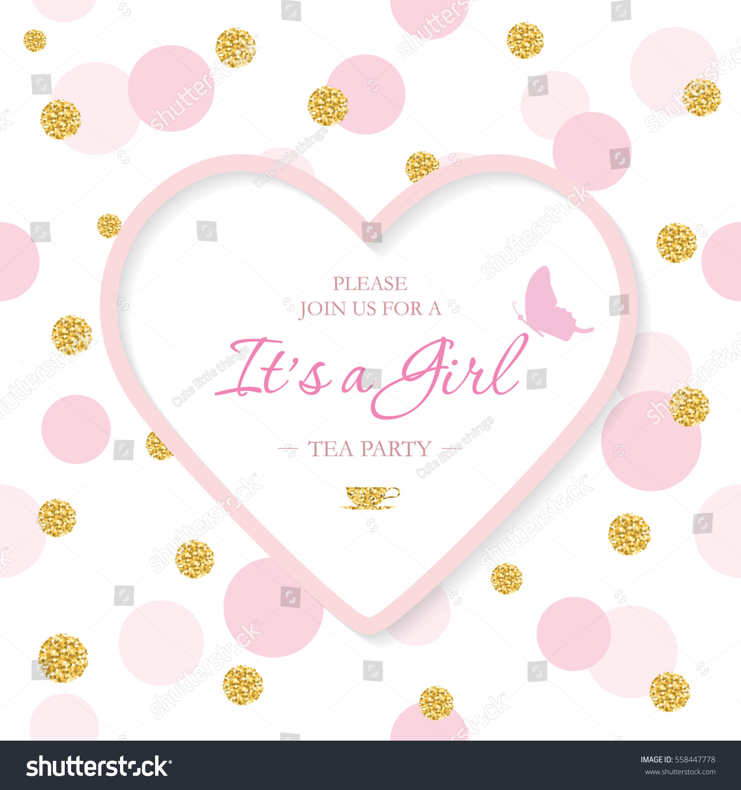 Girl baby shower invitation template included stock vector royalty girl baby shower invitation template included laser cutout heart shaped frame on seamless polka dot filmwisefo