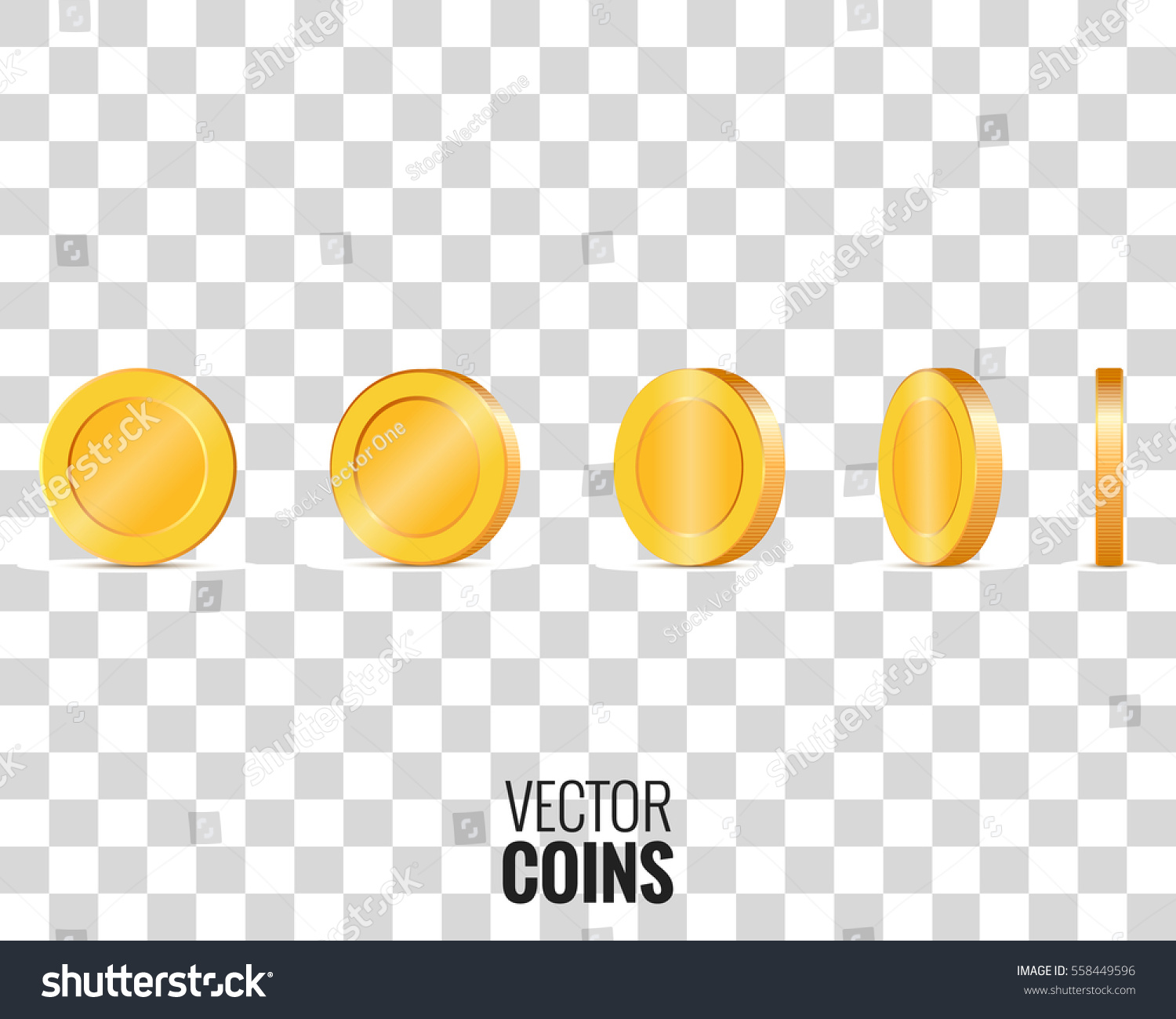 Gold Coins In Different Shapes For Animation Vector On Transparent Background