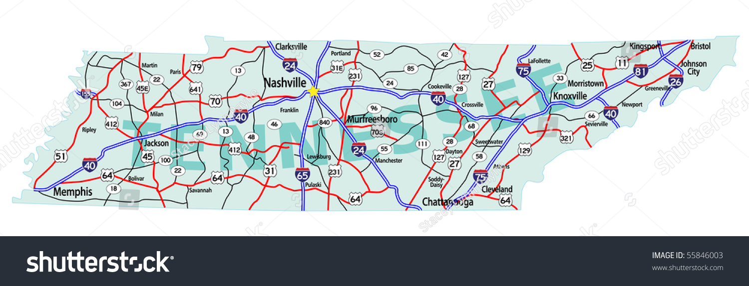 Tennessee State Road Map Interstates Us Stock Illustration
