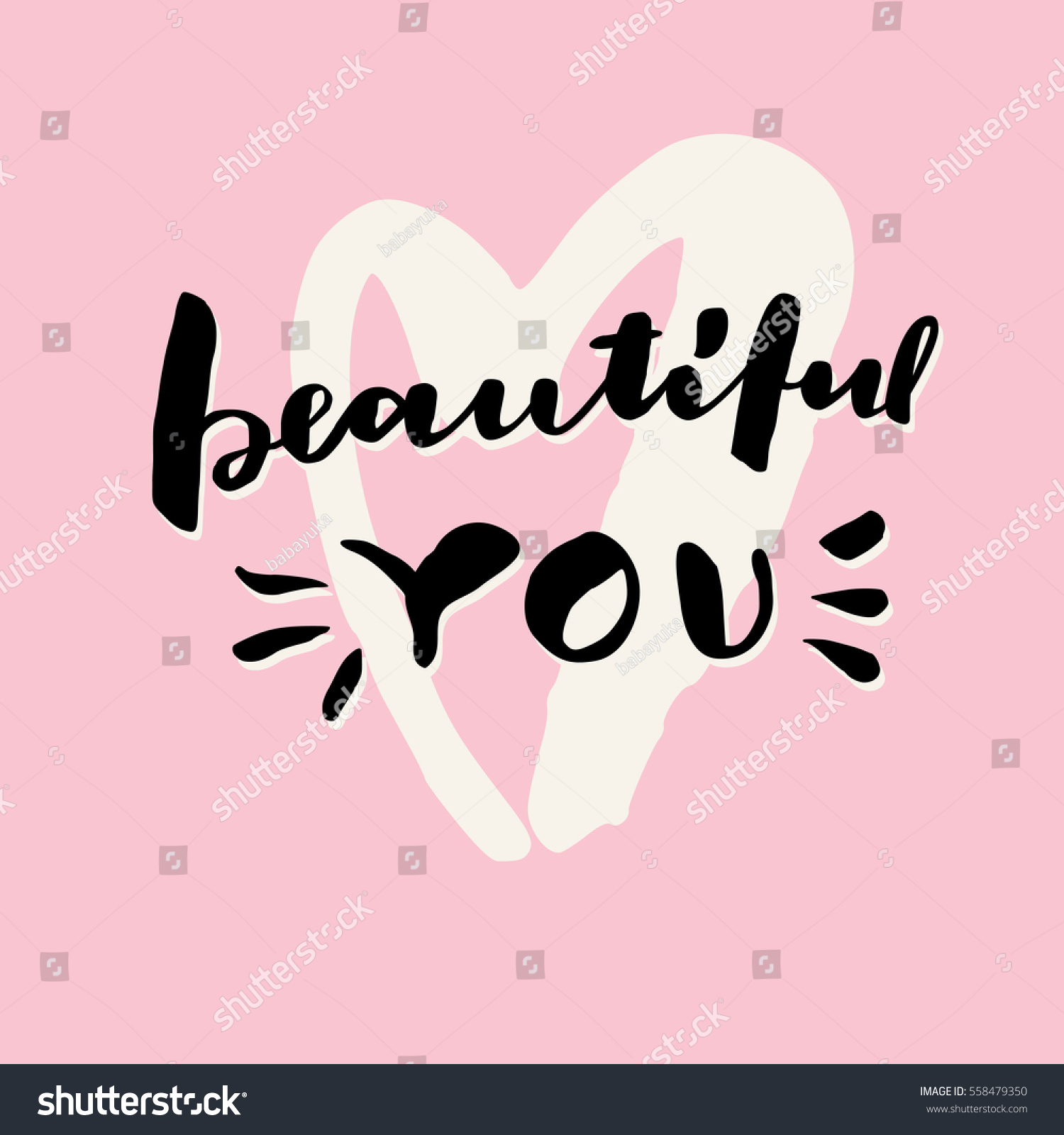 Beautiful You Valentines Day Hand Lettering Greeting Card Love