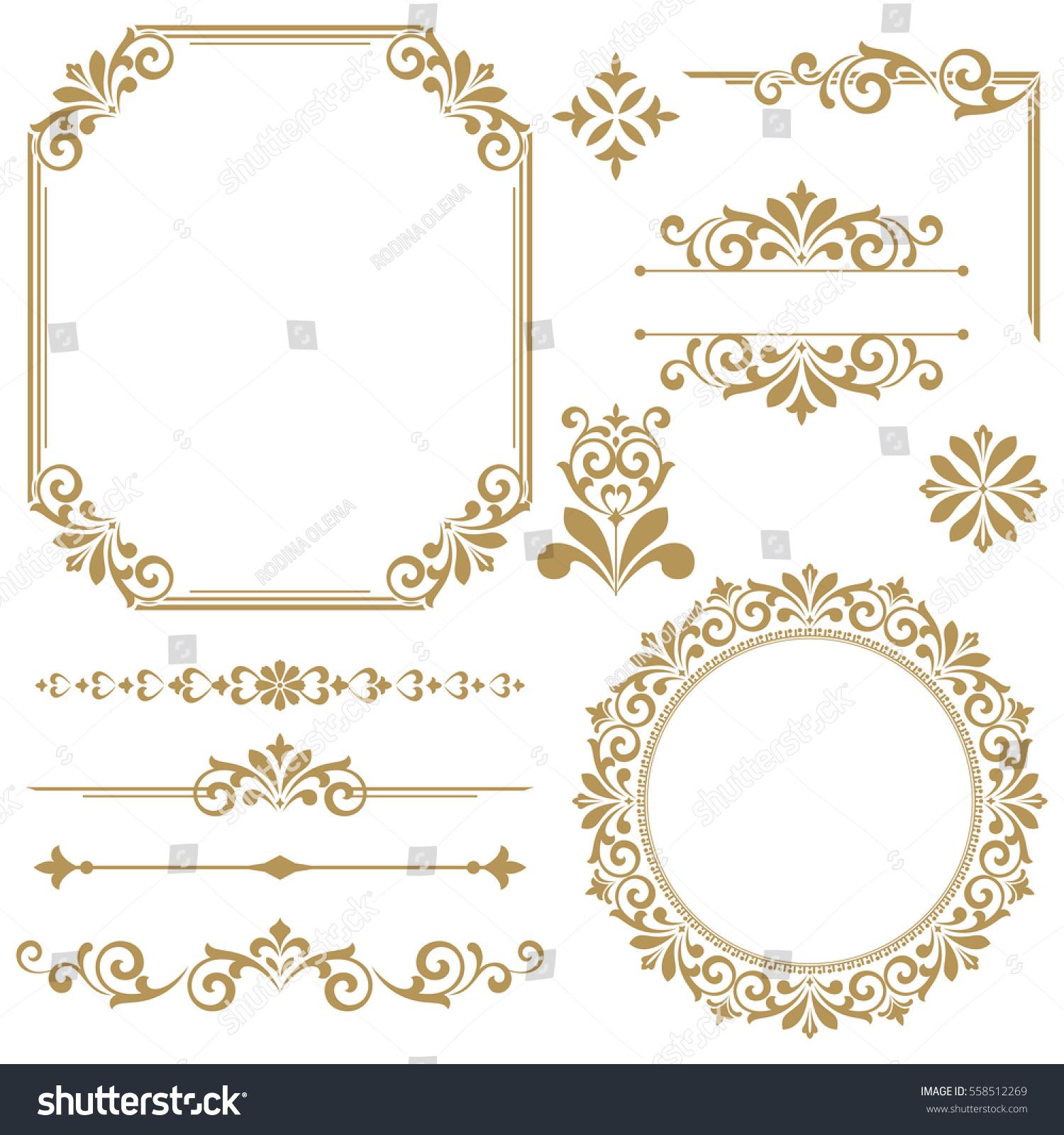Vintage vector Set. Floral elements for design of monograms, invitations, frames, menus, labels and websites. Graphic elements for design of catalogs and brochures of cafes, boutiques #558512269