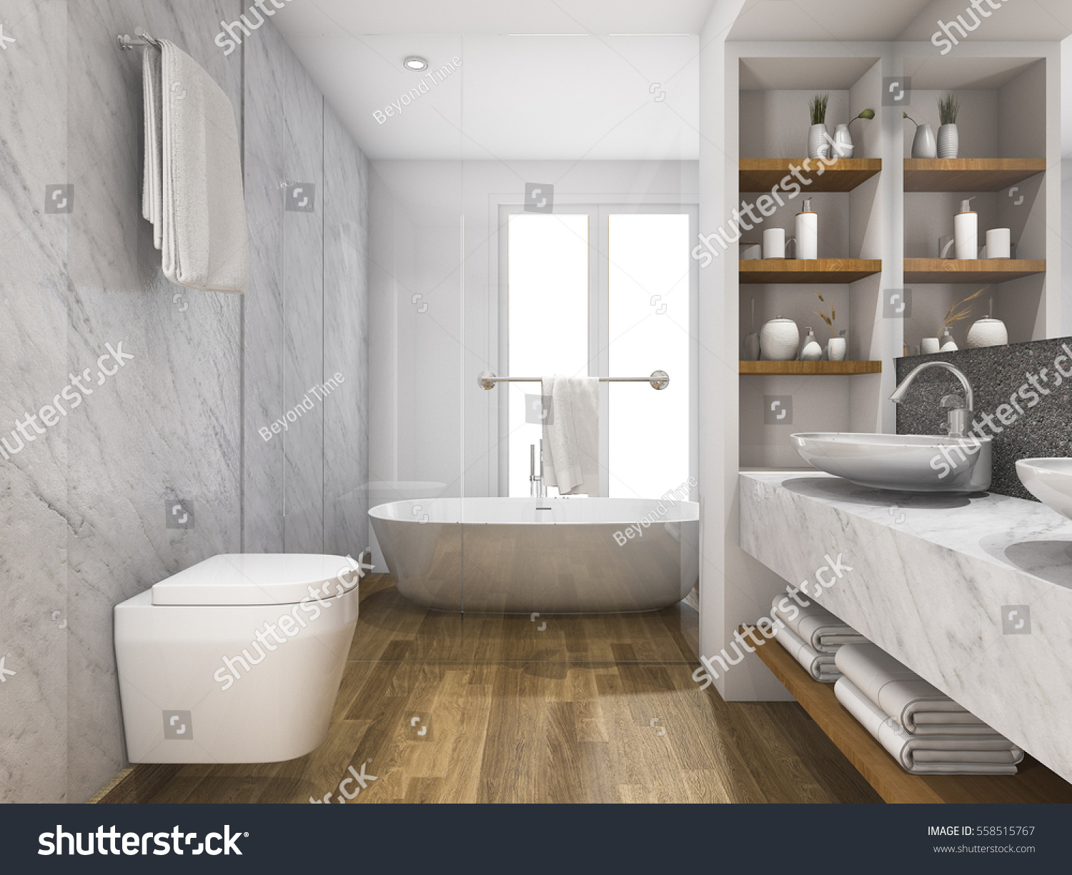 3 D Rendering Beautiful Wood Marble Toilet Stock Illustration ...