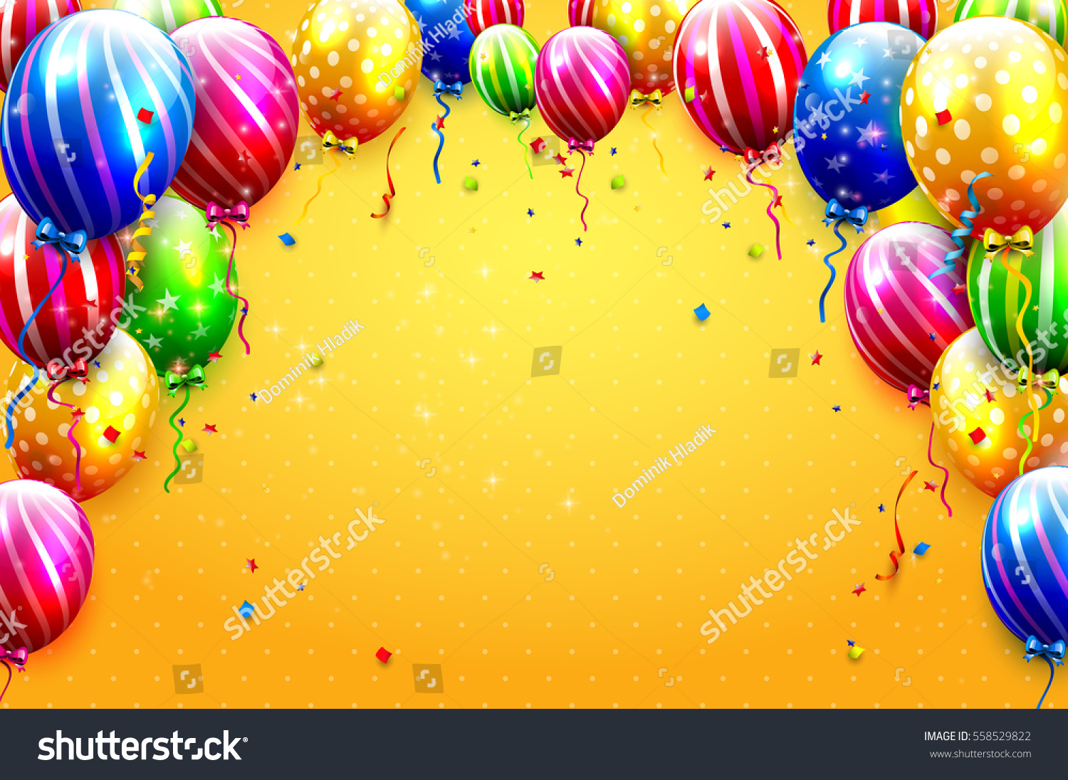 Luxury Party Balloons And Confetti On Orange Background Or Birthday Invitation Template