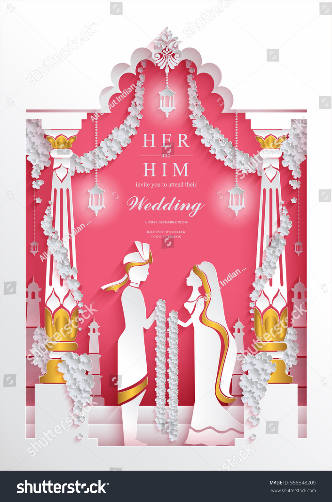 Indian Wedding Invitation Card Templates Paper Stock Vector Royalty