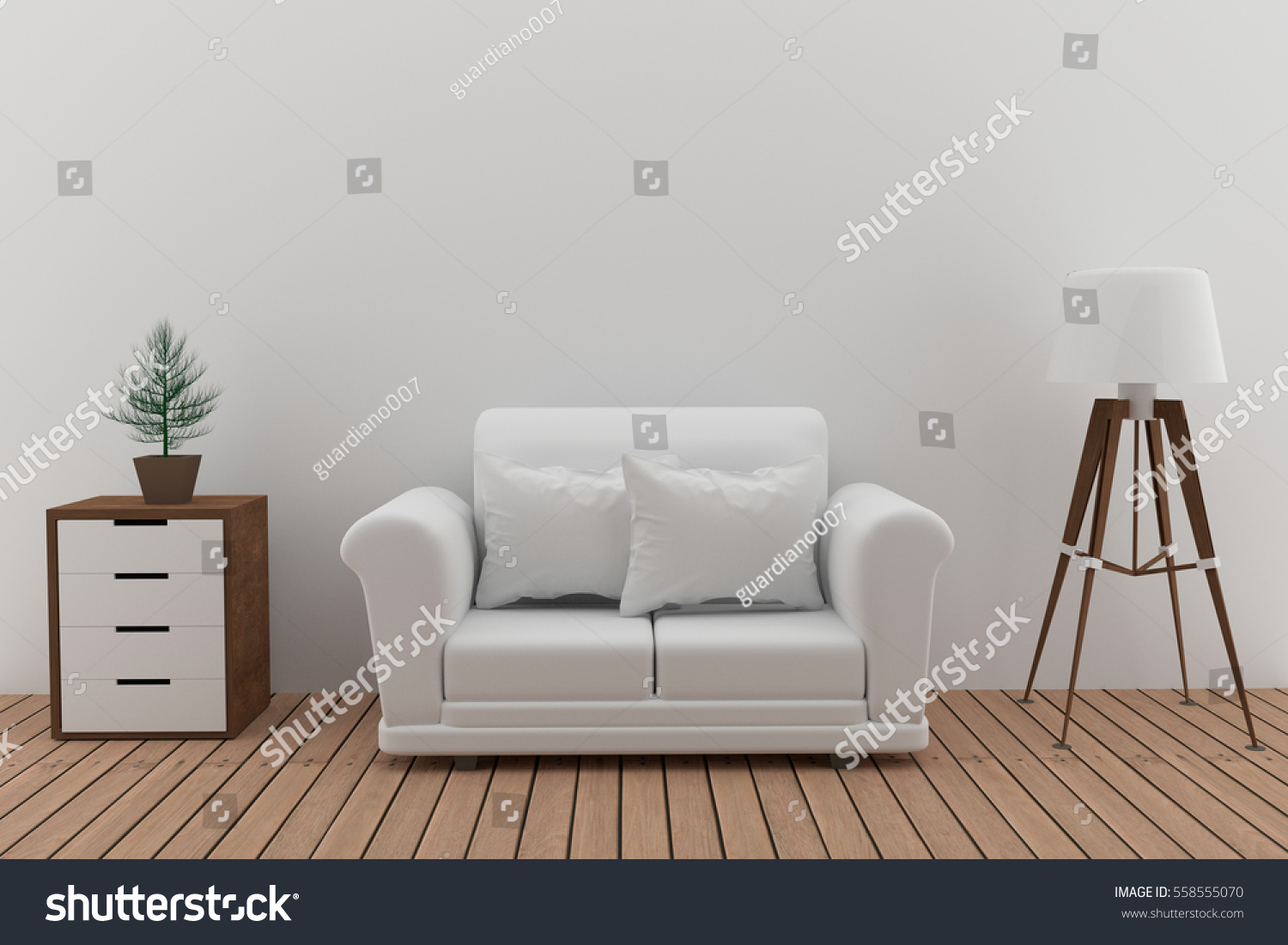 double white sofa in white room with lamp and tree in 3D render image #558555070
