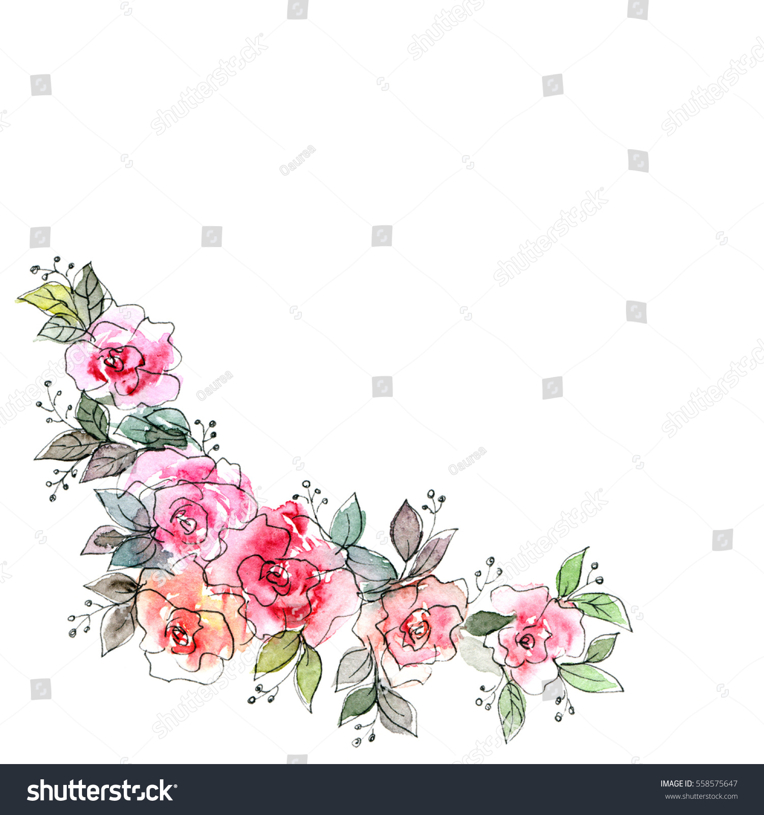 floral corner watercolor floral bouquet birthdayのイラスト素材