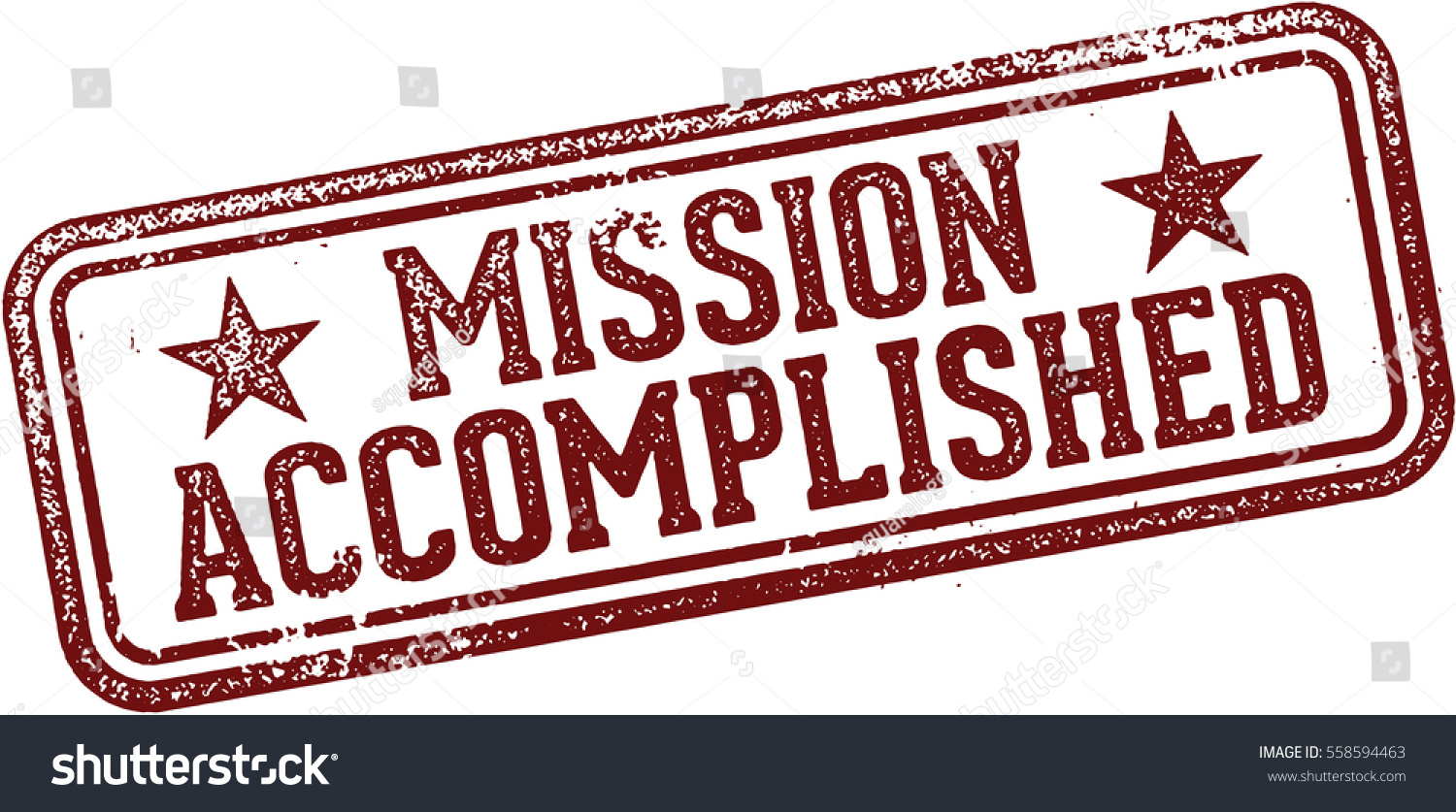 Mission Accomplished Rubber Stamp Vector