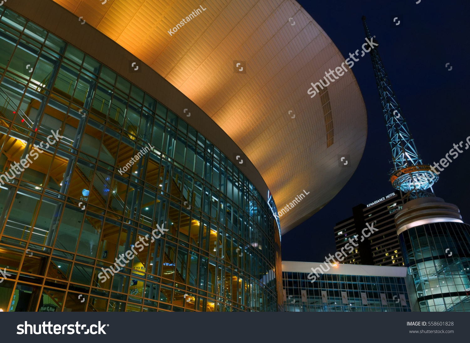 Nashville Tn Event Photography Corporate Conventions: January 2017 Nashville Tn Night View Stock Photo 558601828