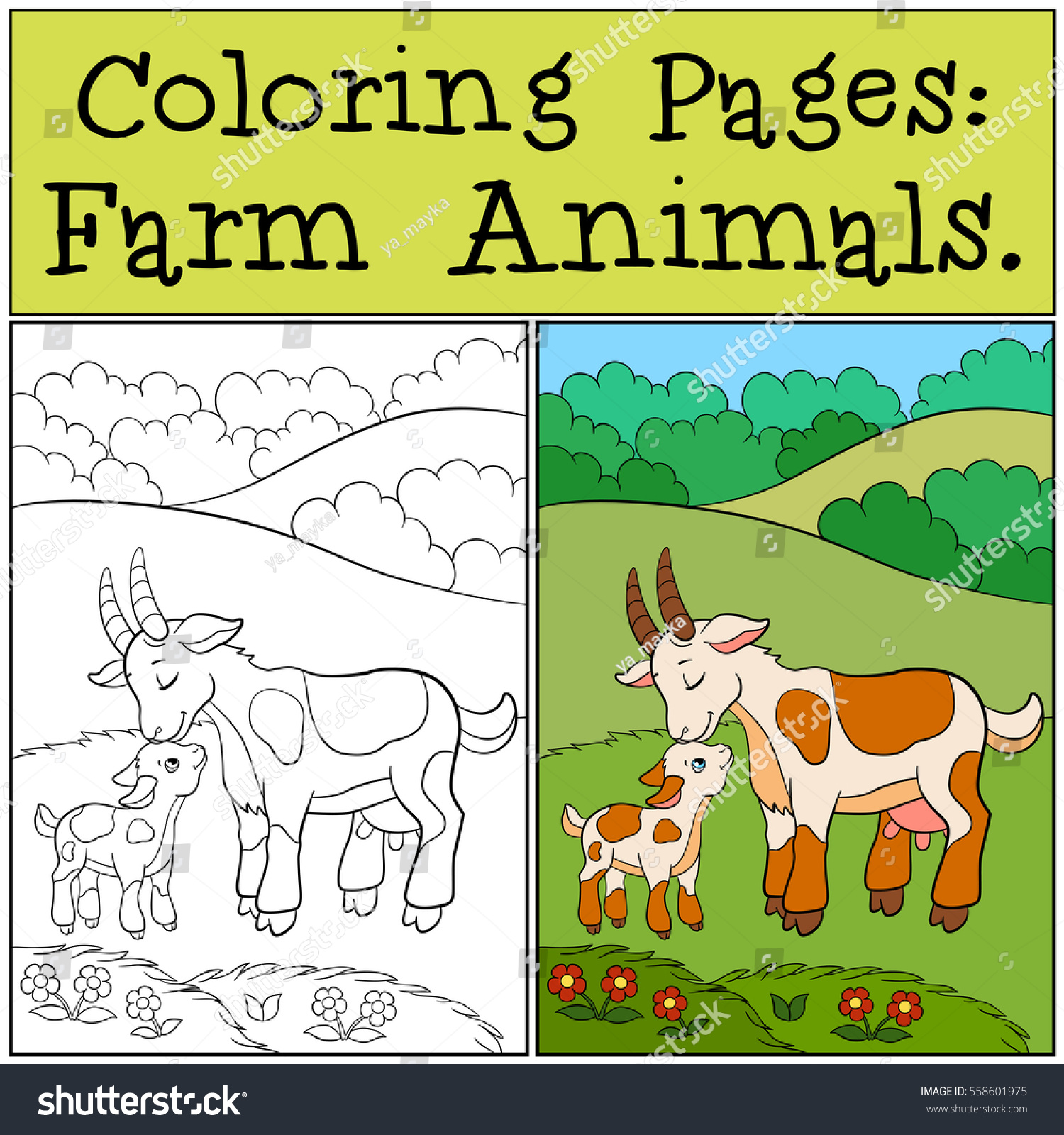 Coloring Pages Farm Animals Mother Goat Stock Photo (Photo, Vector ...