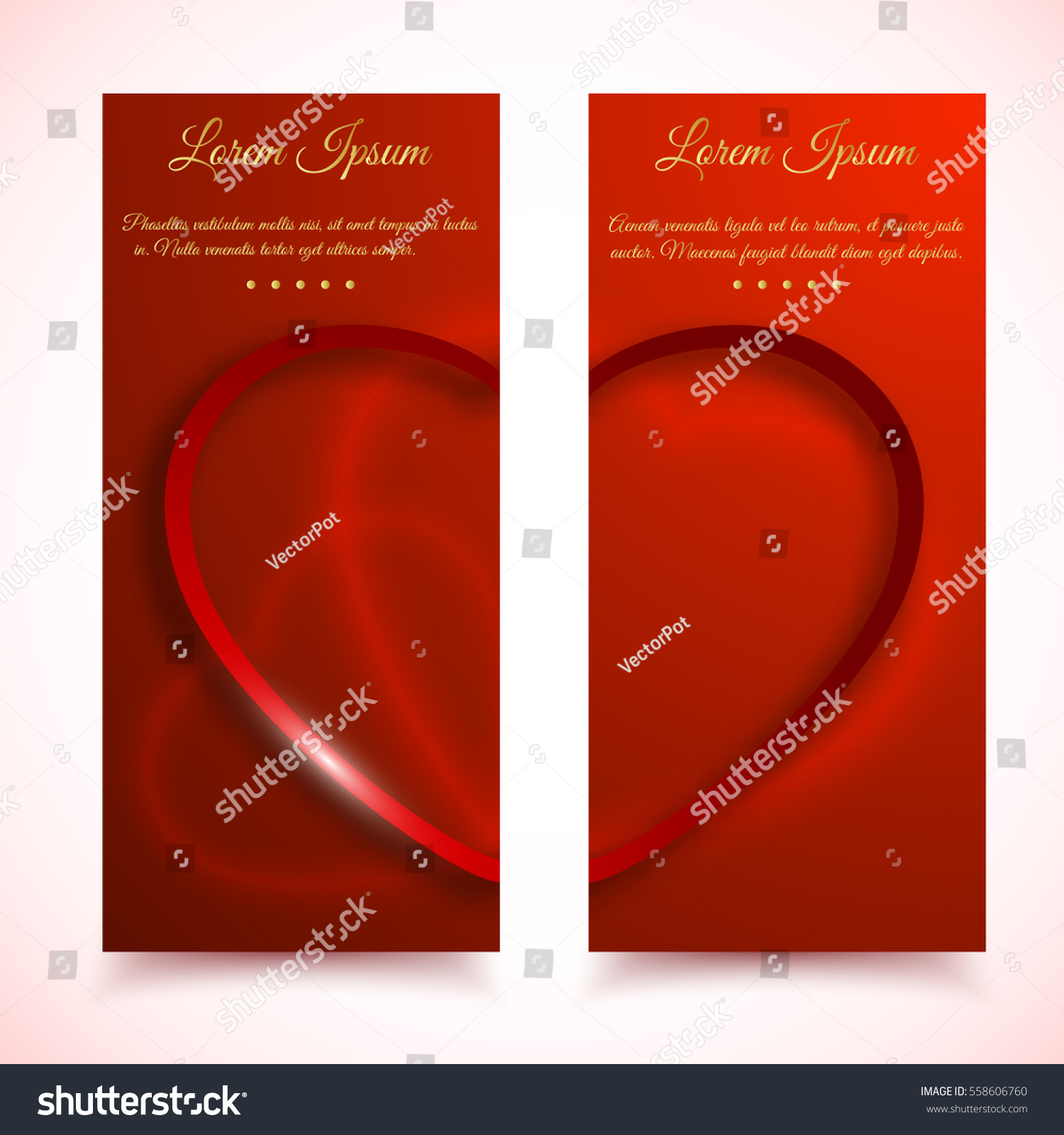Set Two Vertical Valentines Day Cards Stock Vector