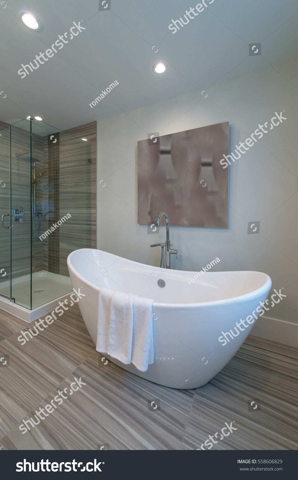 Modern luxury bathroom with bathtub. Interior design. Vertical. | EZ ...