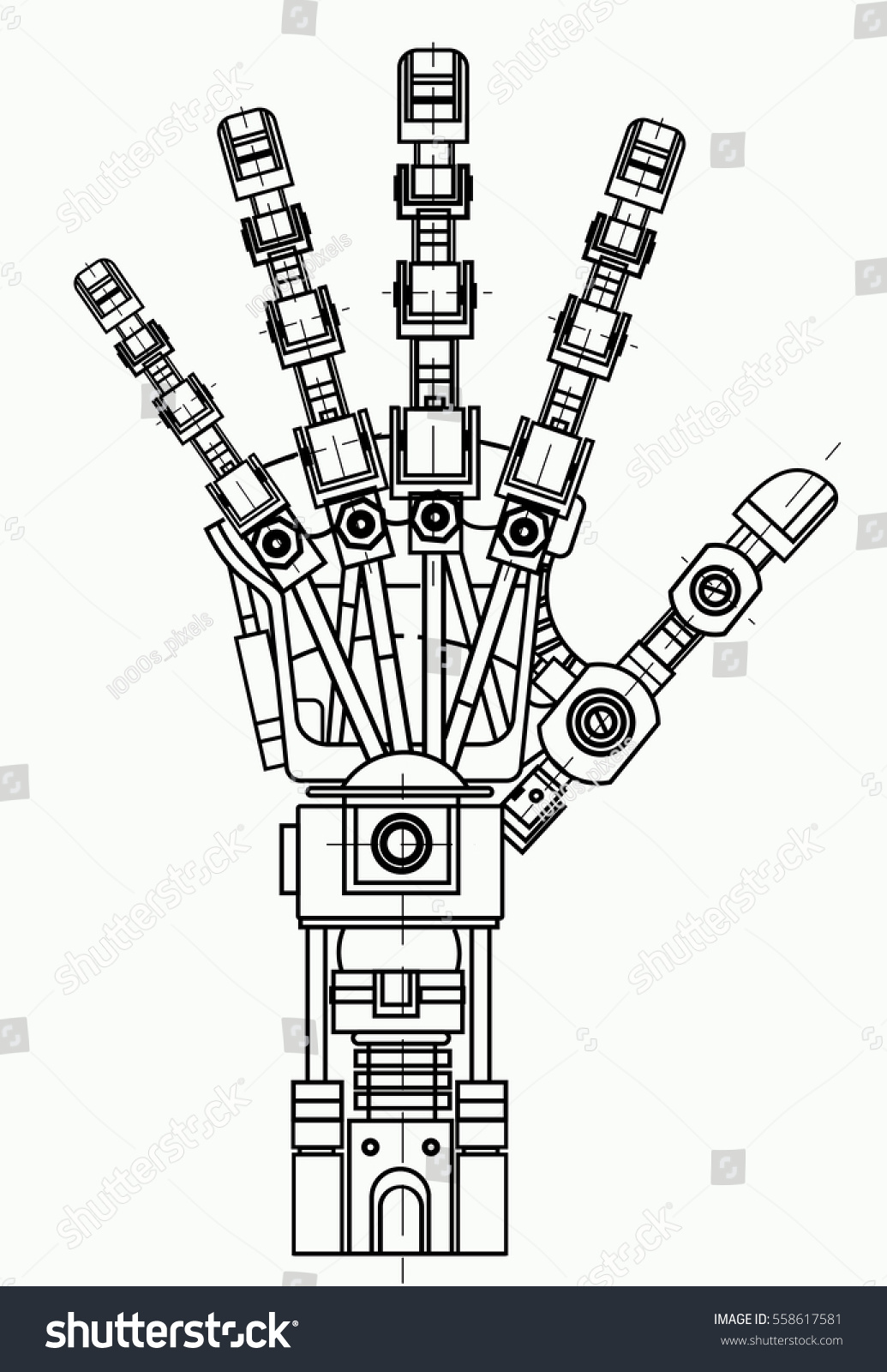 Robot Arm Drawing Model Can Be Stock Vector Royalty Free 558617581 Orange Themed Circuit Board Clipart Illustration It Used As An Of Robotics Ideas