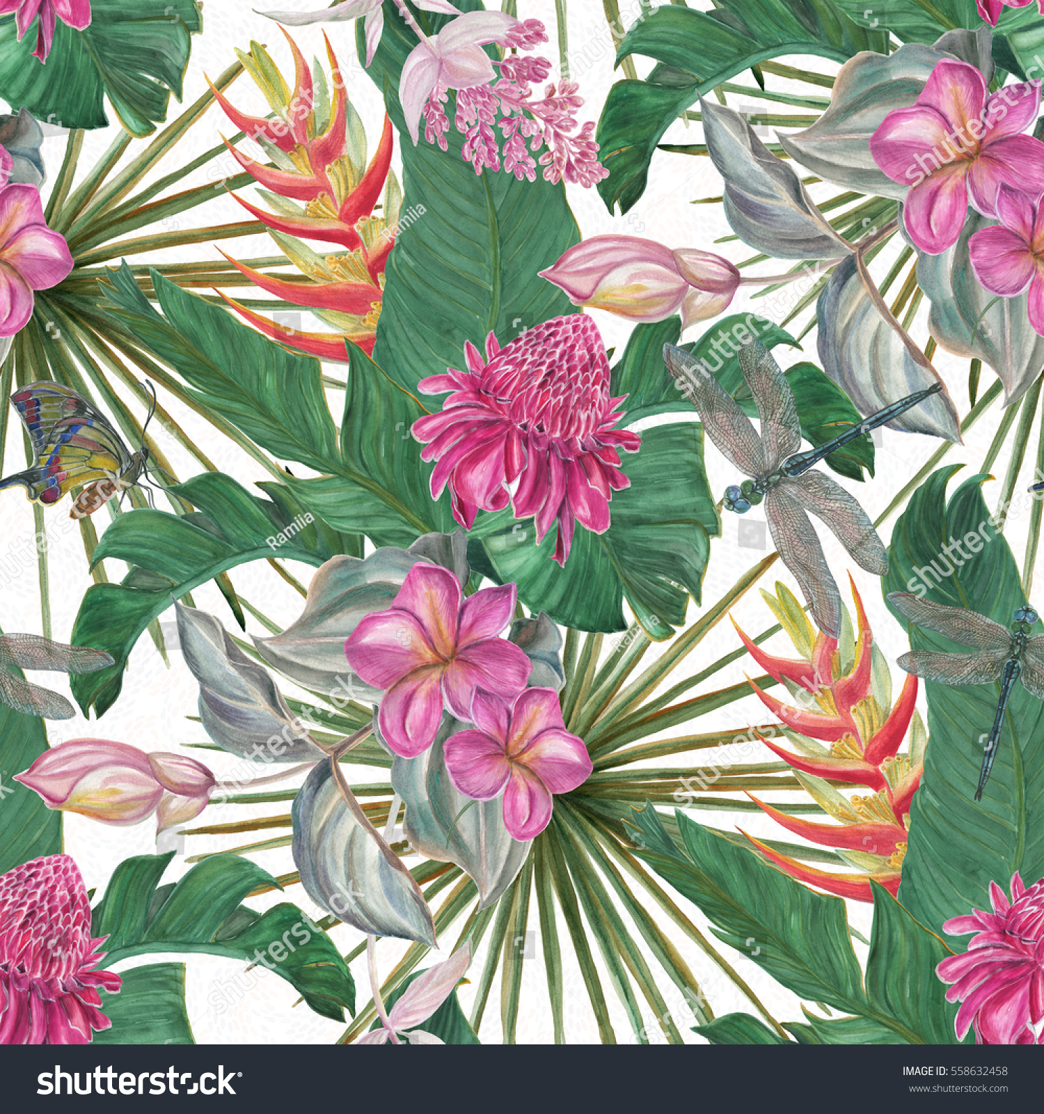 Watercolor seamless pattern beautiful exotic flowers stock watercolor seamless pattern with beautiful exotic flowers on white background hand painting floral tropical bouquet izmirmasajfo