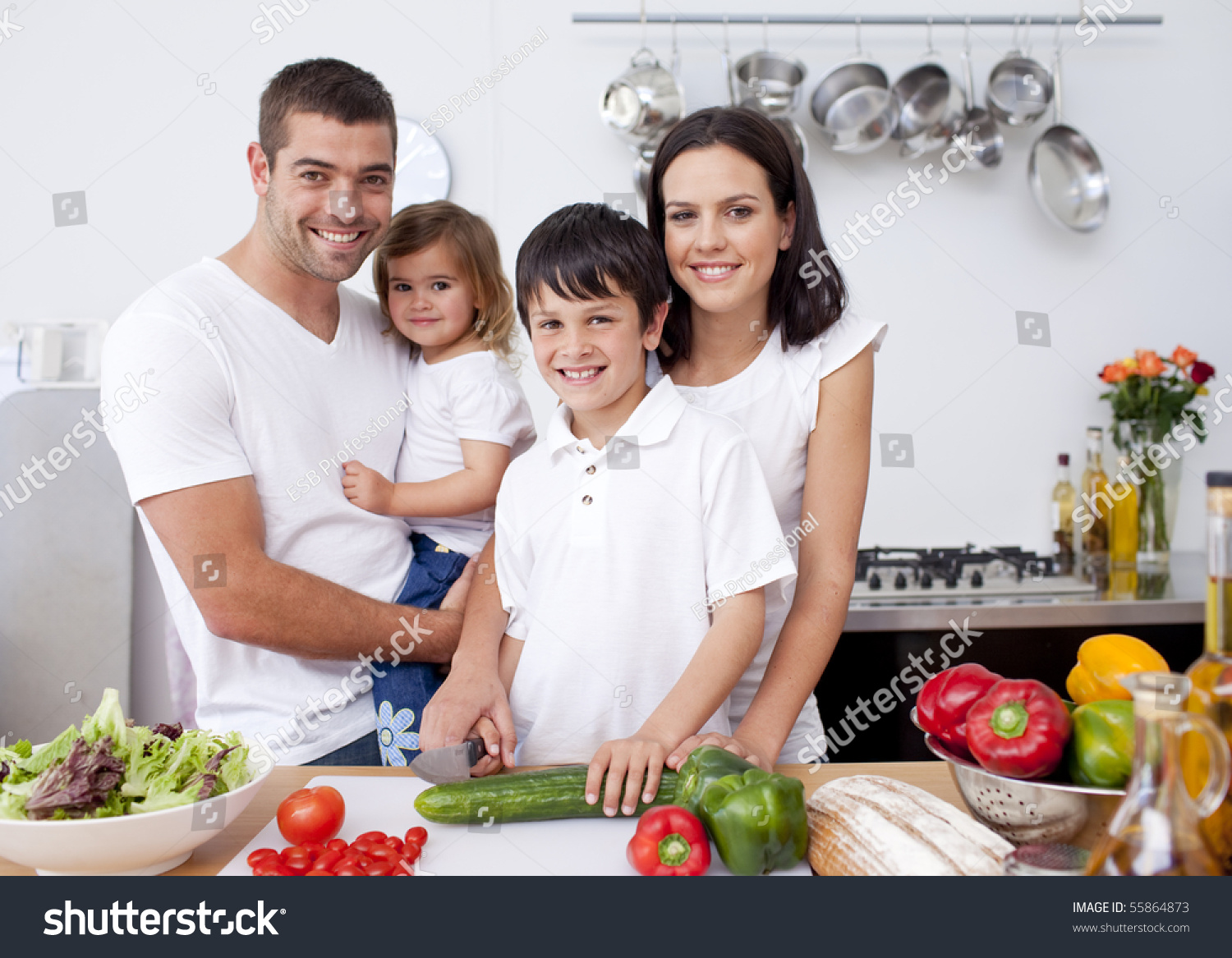 Family Kitchen Smiling Family Cooking Together Kitchen Stock Photo 55864873