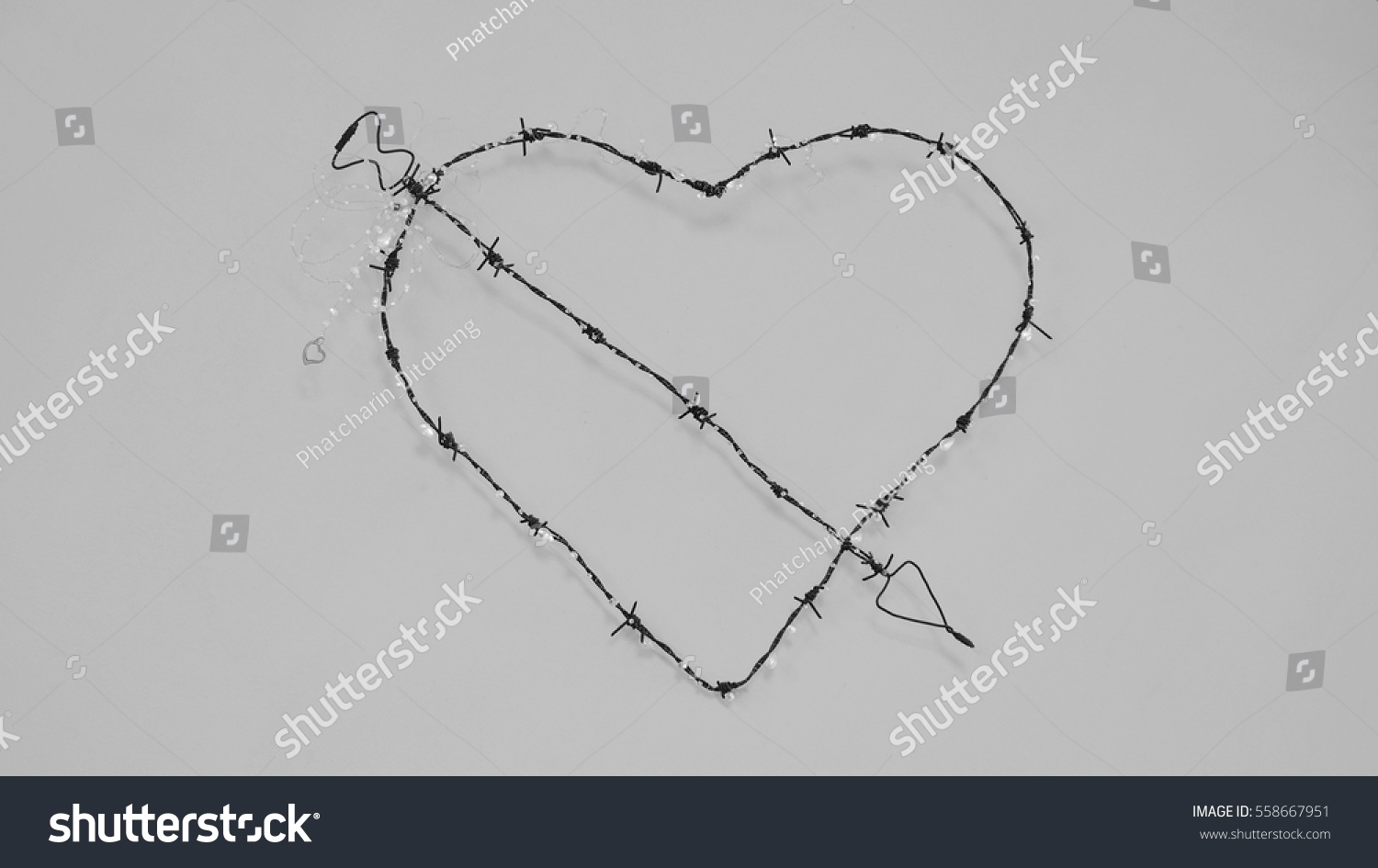 Coiled Barbed Wire Heart Stock Photo (Safe to Use) 558667951 ...