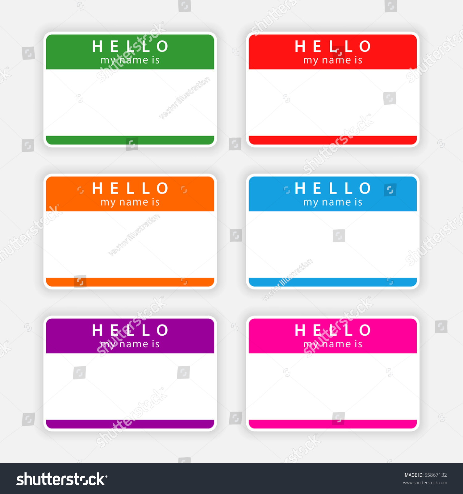 H tag background image - Badge Name Tag Hello My Name Is Colorful Blank Label With Shadow On Gray Background